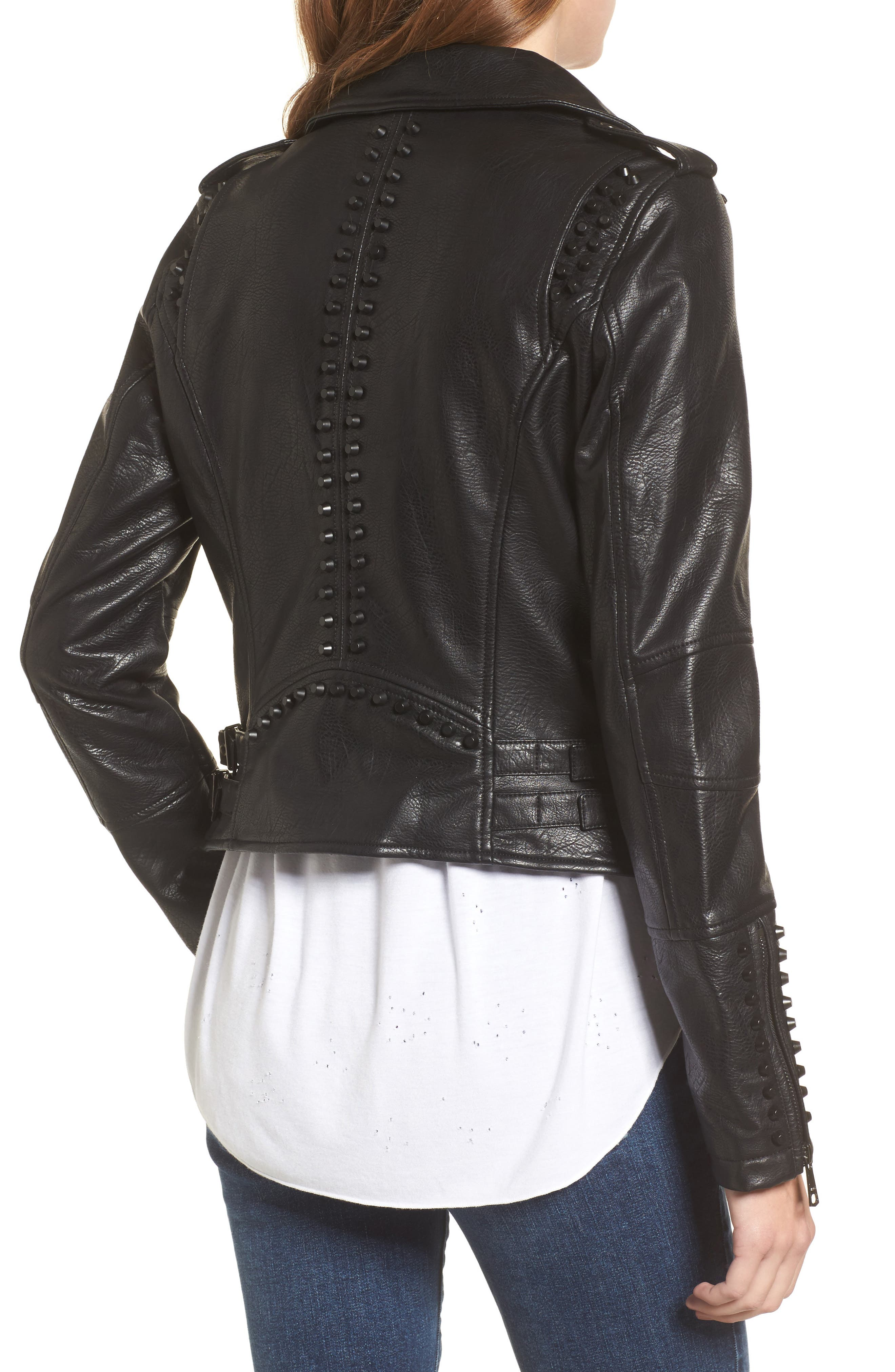 Studded Faux Leather Moto Jacket,                             Alternate thumbnail 2, color,                             Black