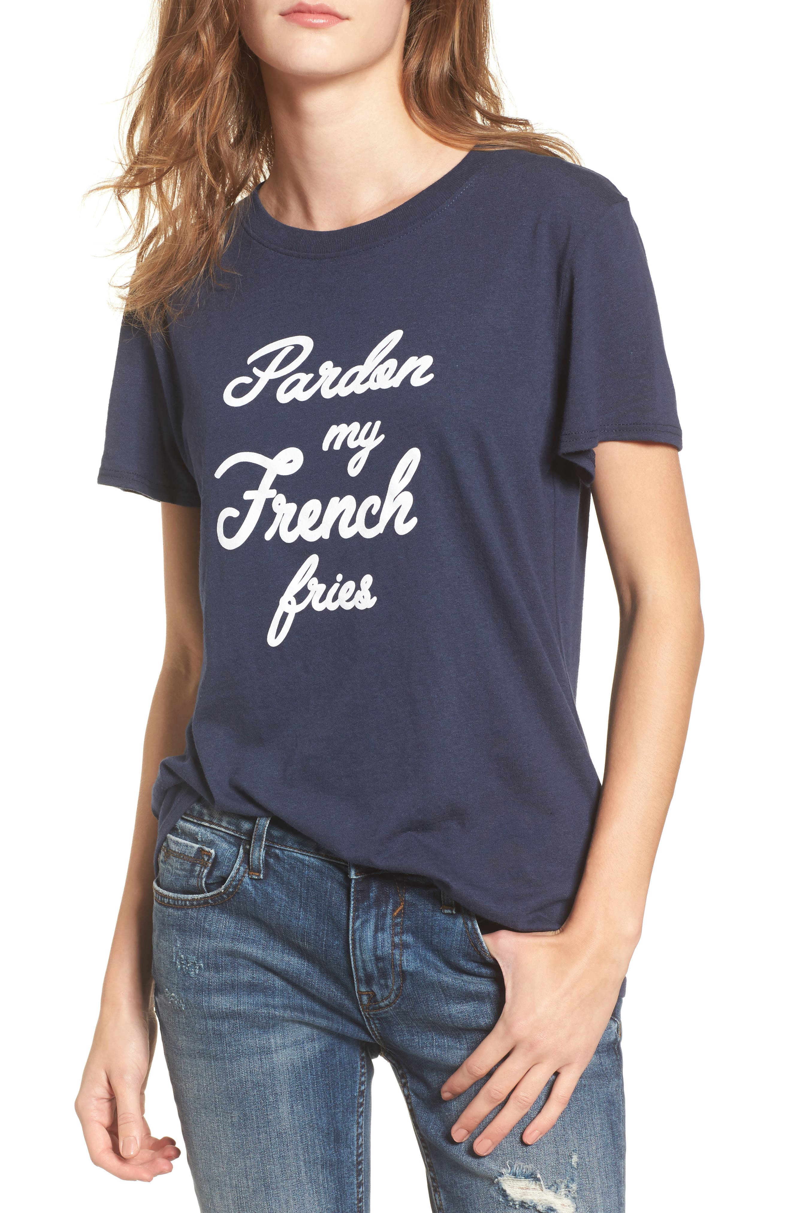 Pardon My French Fries Graphic Tee,                             Main thumbnail 1, color,                             Navy