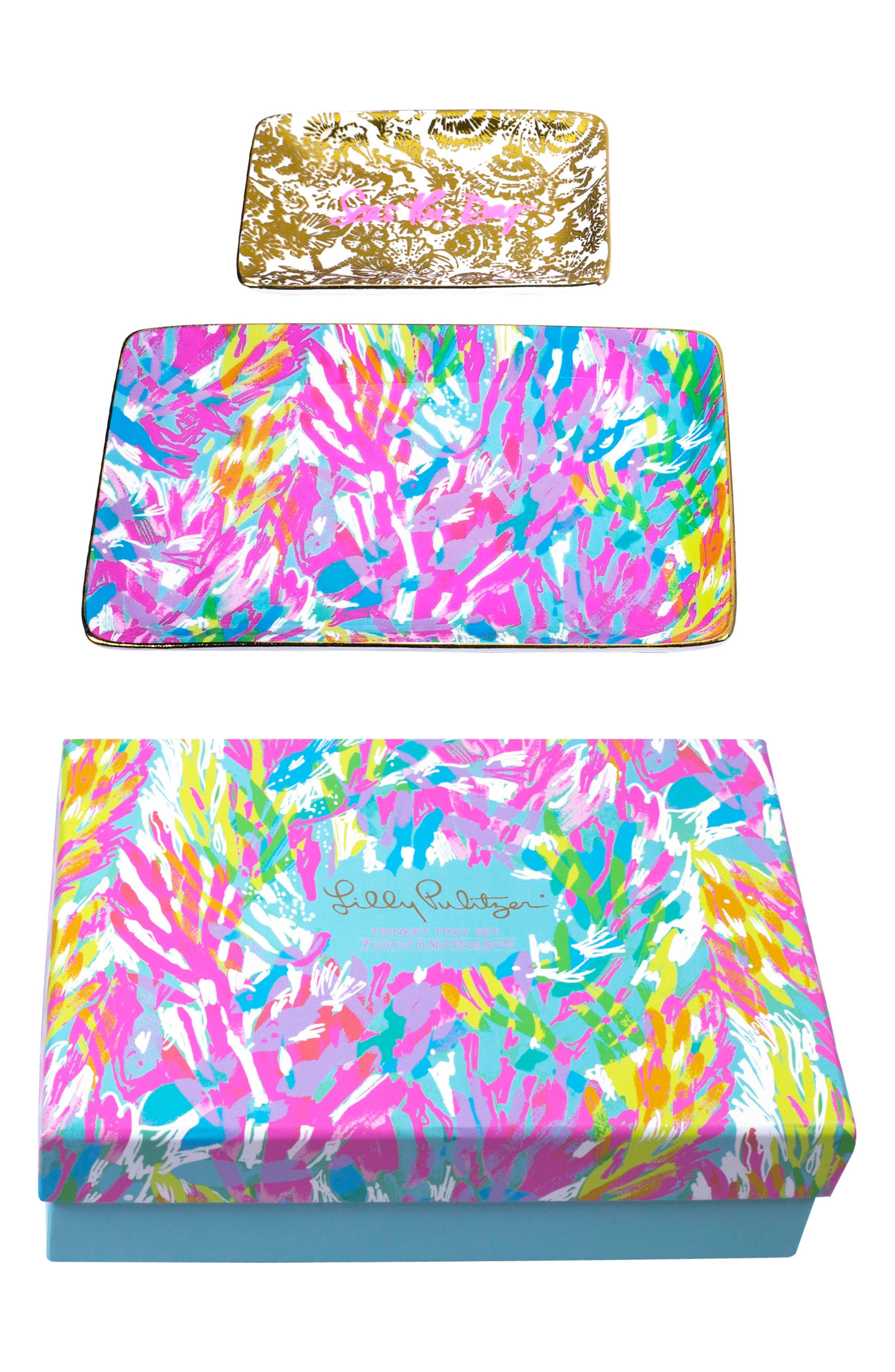Set of 2 Ceramic Trinket Trays,                             Main thumbnail 1, color,                             Sparkling Sands