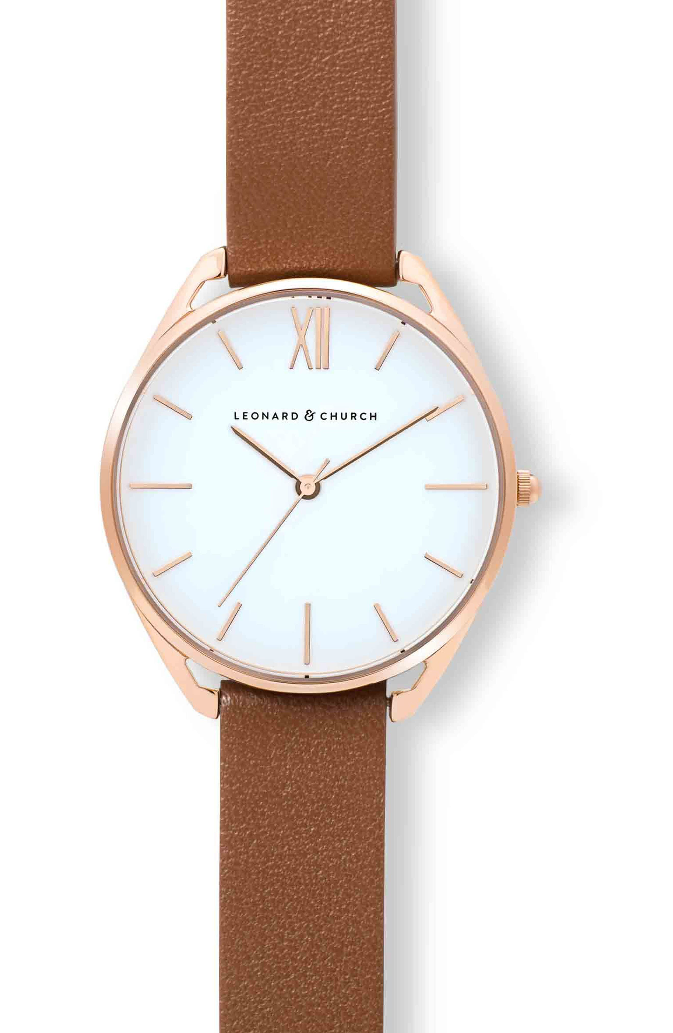 Leonard & Church Chelsea Leather Strap Watch, 34mm,                             Alternate thumbnail 4, color,                             Brown/ White/ Rose Gold