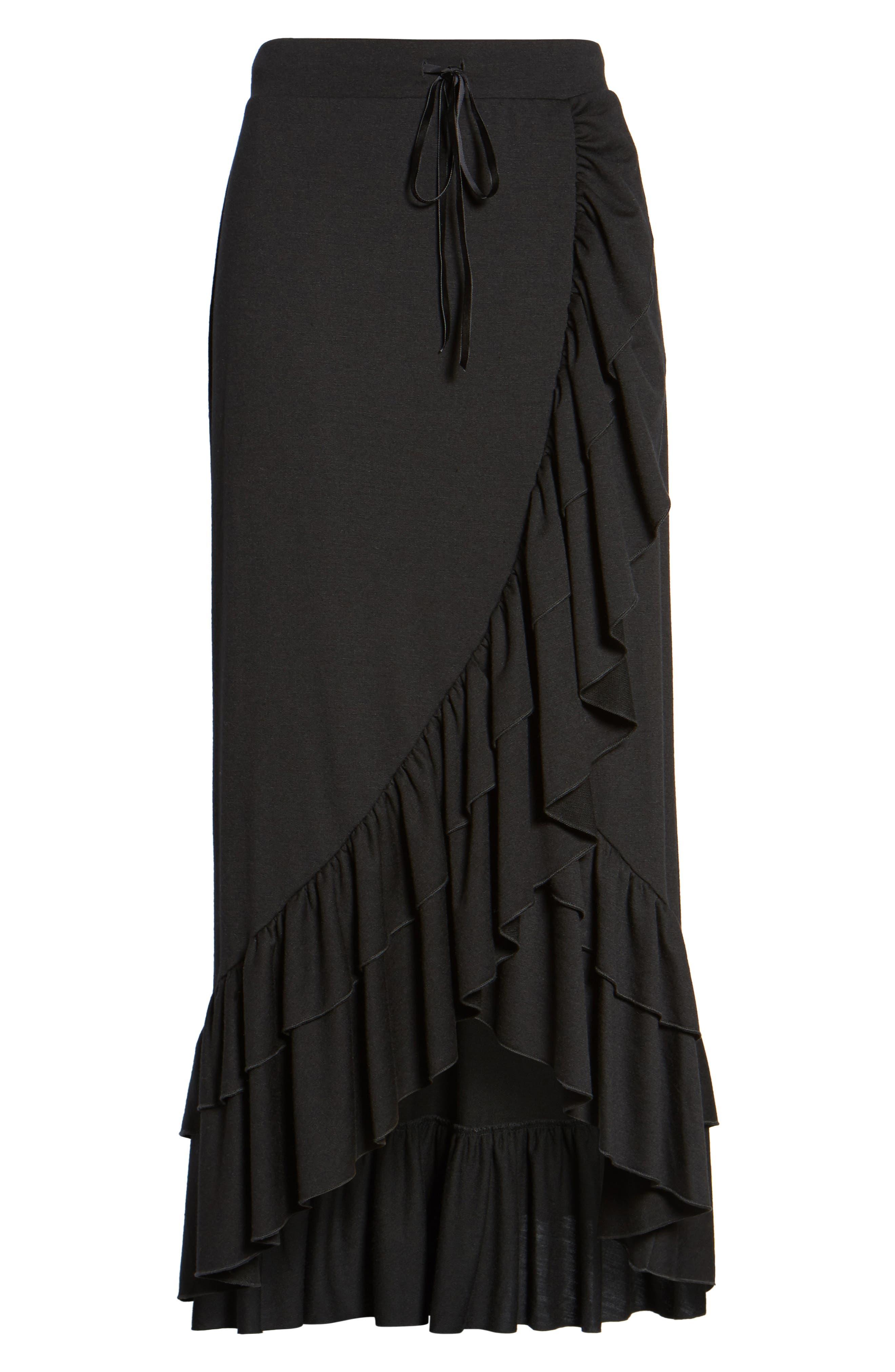 Ruffle Midi Skirt,                             Alternate thumbnail 6, color,                             Black