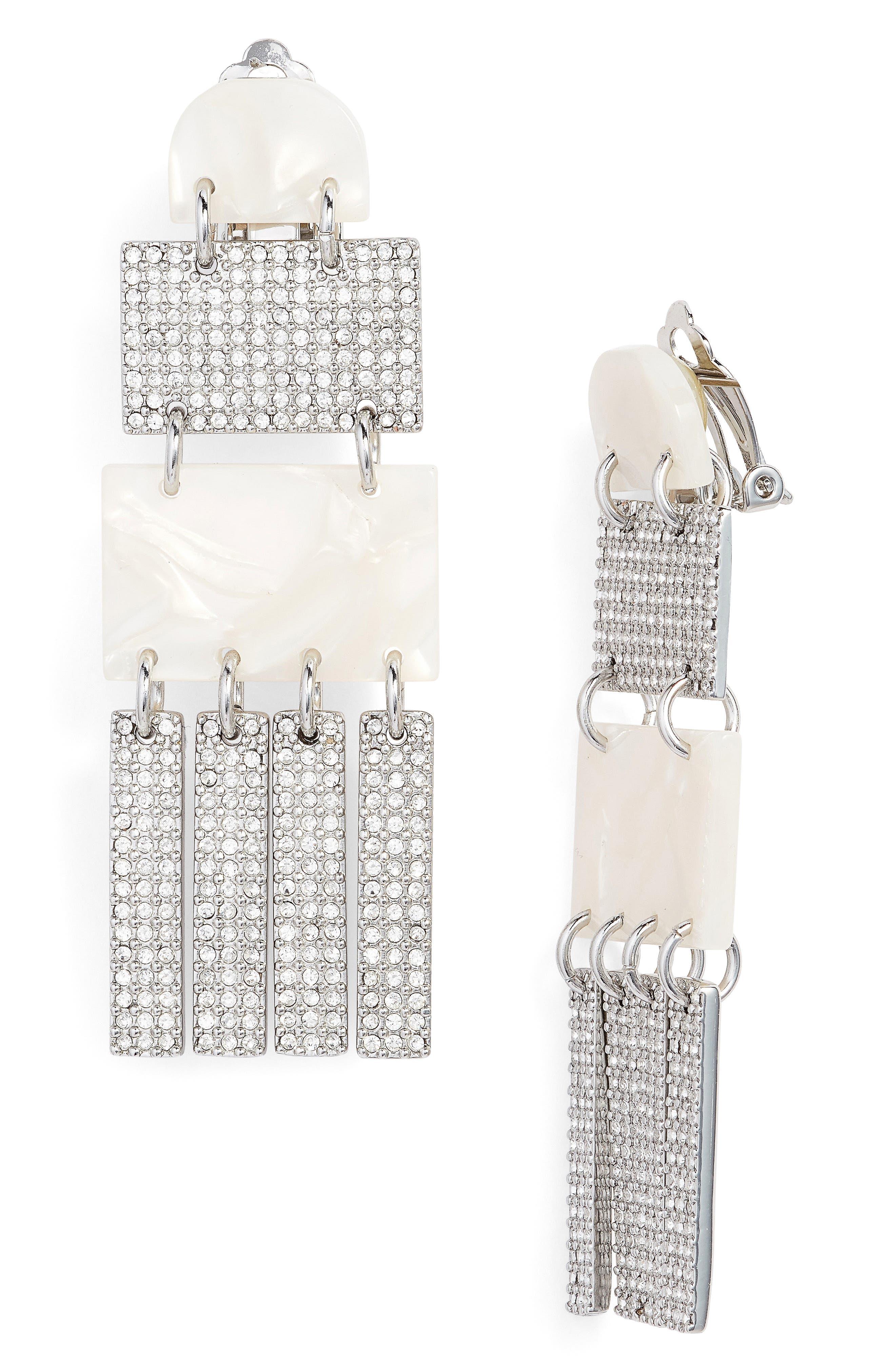 Crystal Skyscraper Earrings,                         Main,                         color, Mother Of Pearl