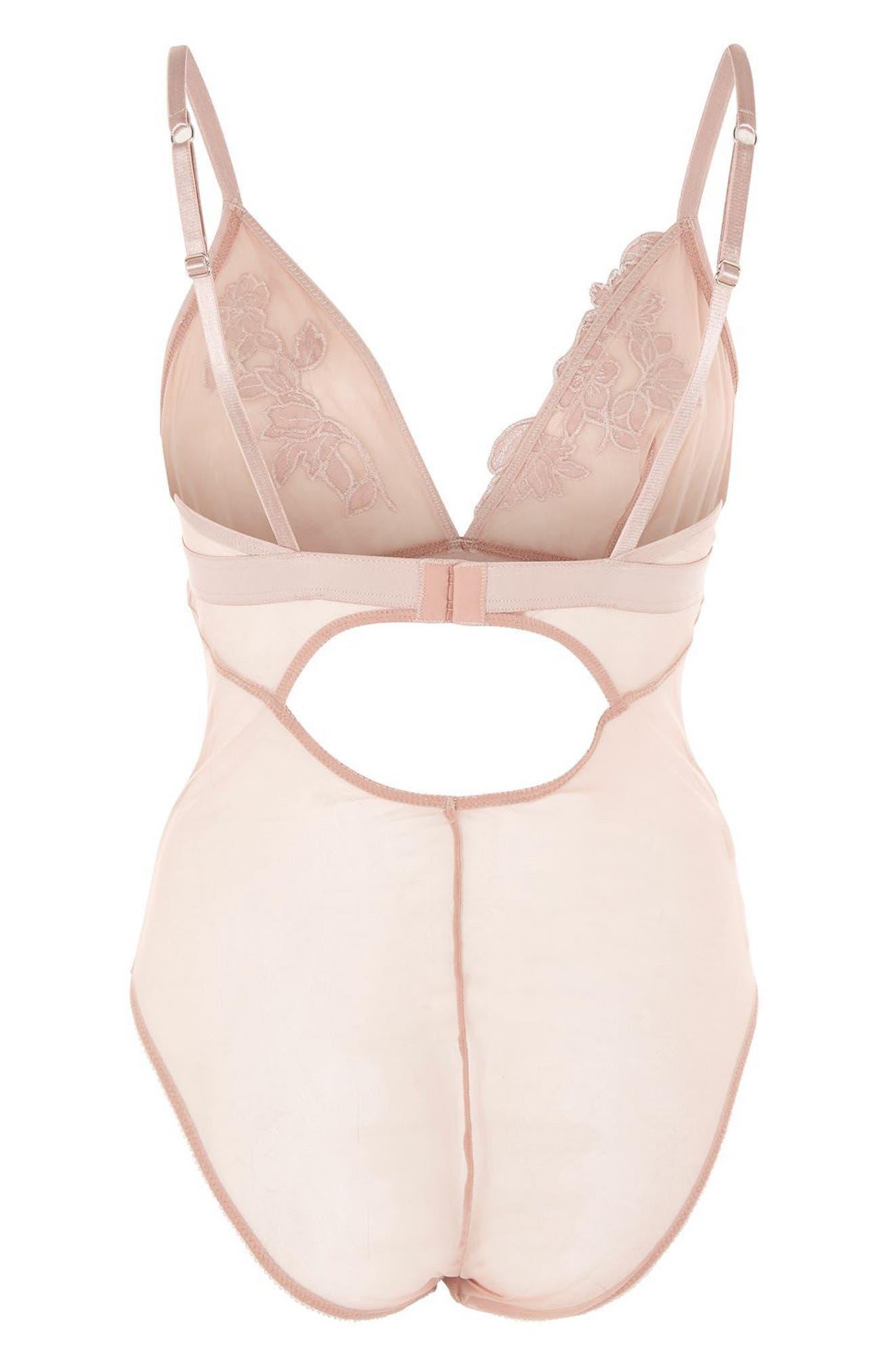 Rosalind Satin & Mesh Bodysuit,                             Alternate thumbnail 3, color,                             Pink