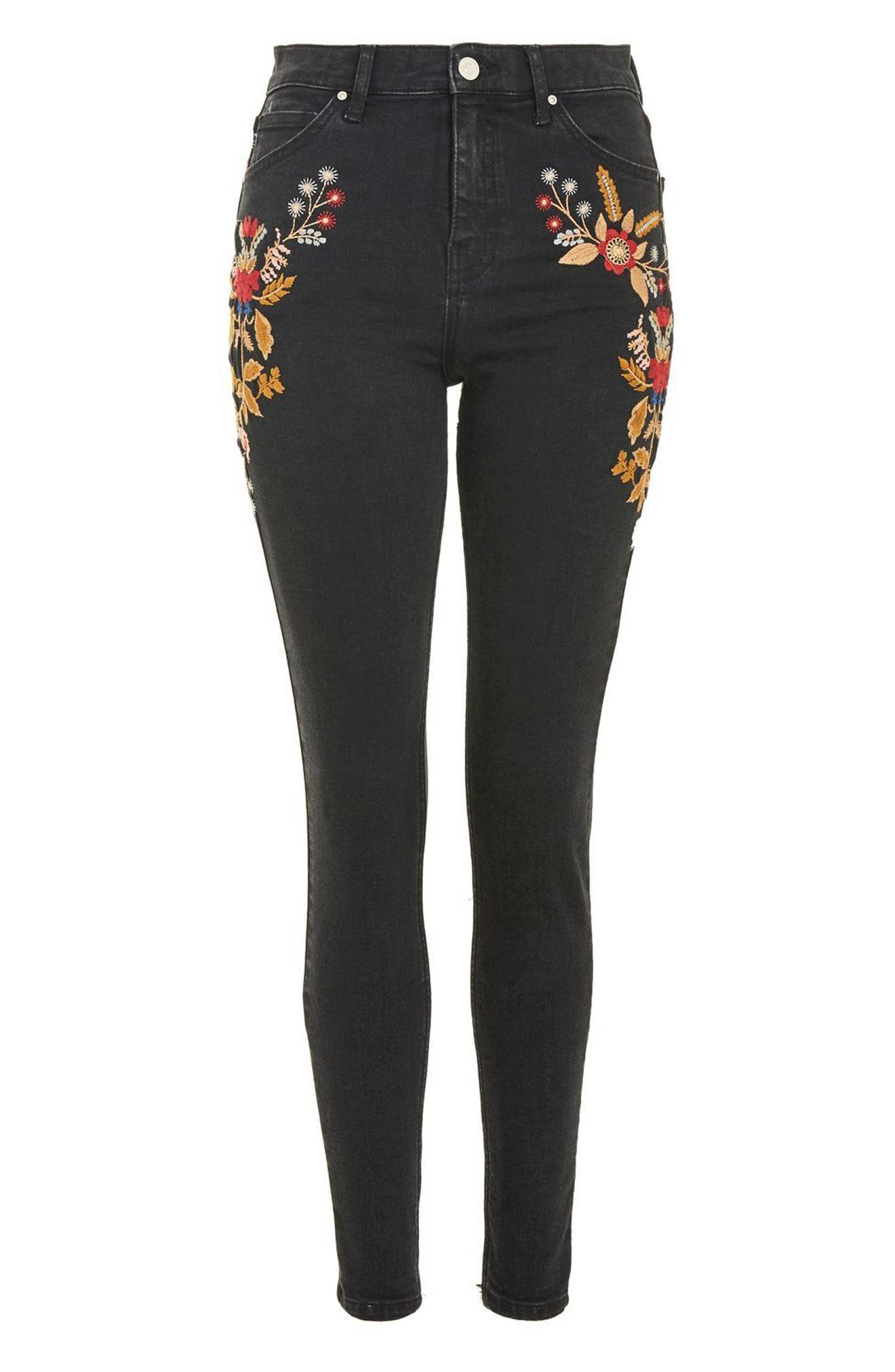 Alternate Image 3  - Topshop Jamie Embroidered High Waist Skinny Jeans