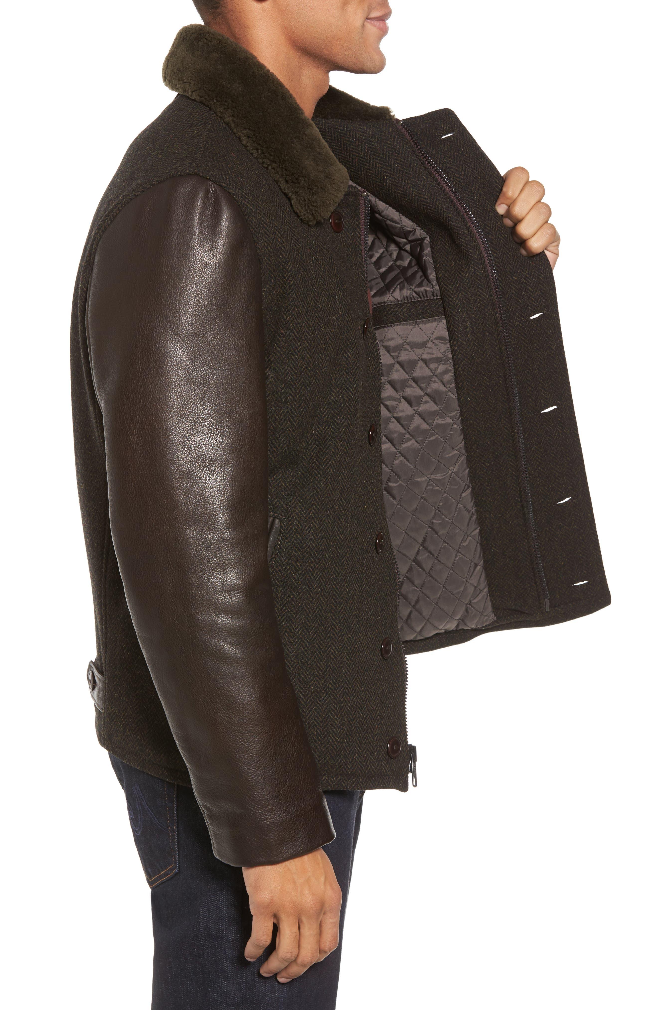 Genuine Shearling Collar N-1 Deck Jacket,                             Alternate thumbnail 3, color,                             Olive