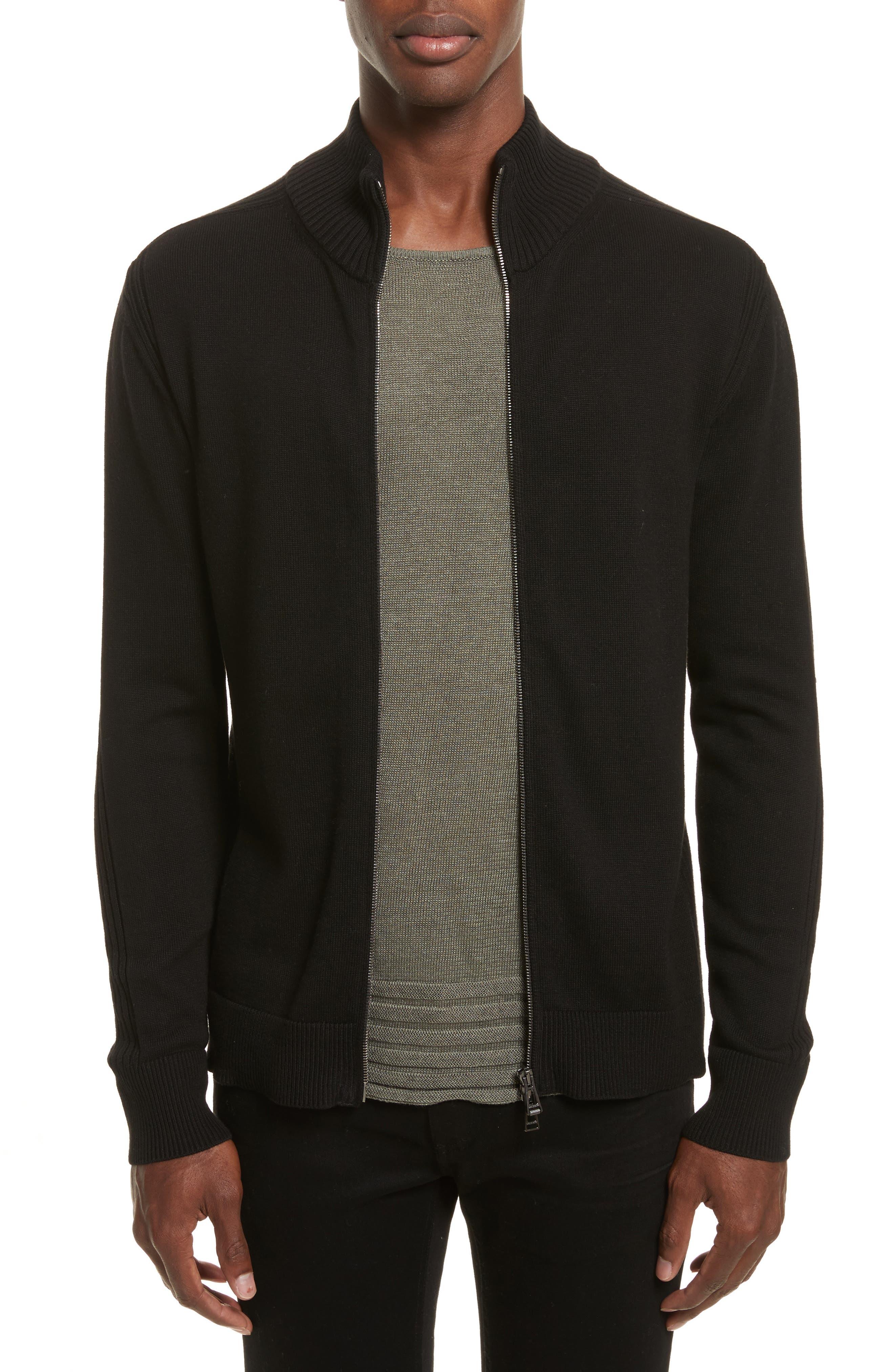 Allerford Knit Cotton Jacket,                             Main thumbnail 1, color,                             Black
