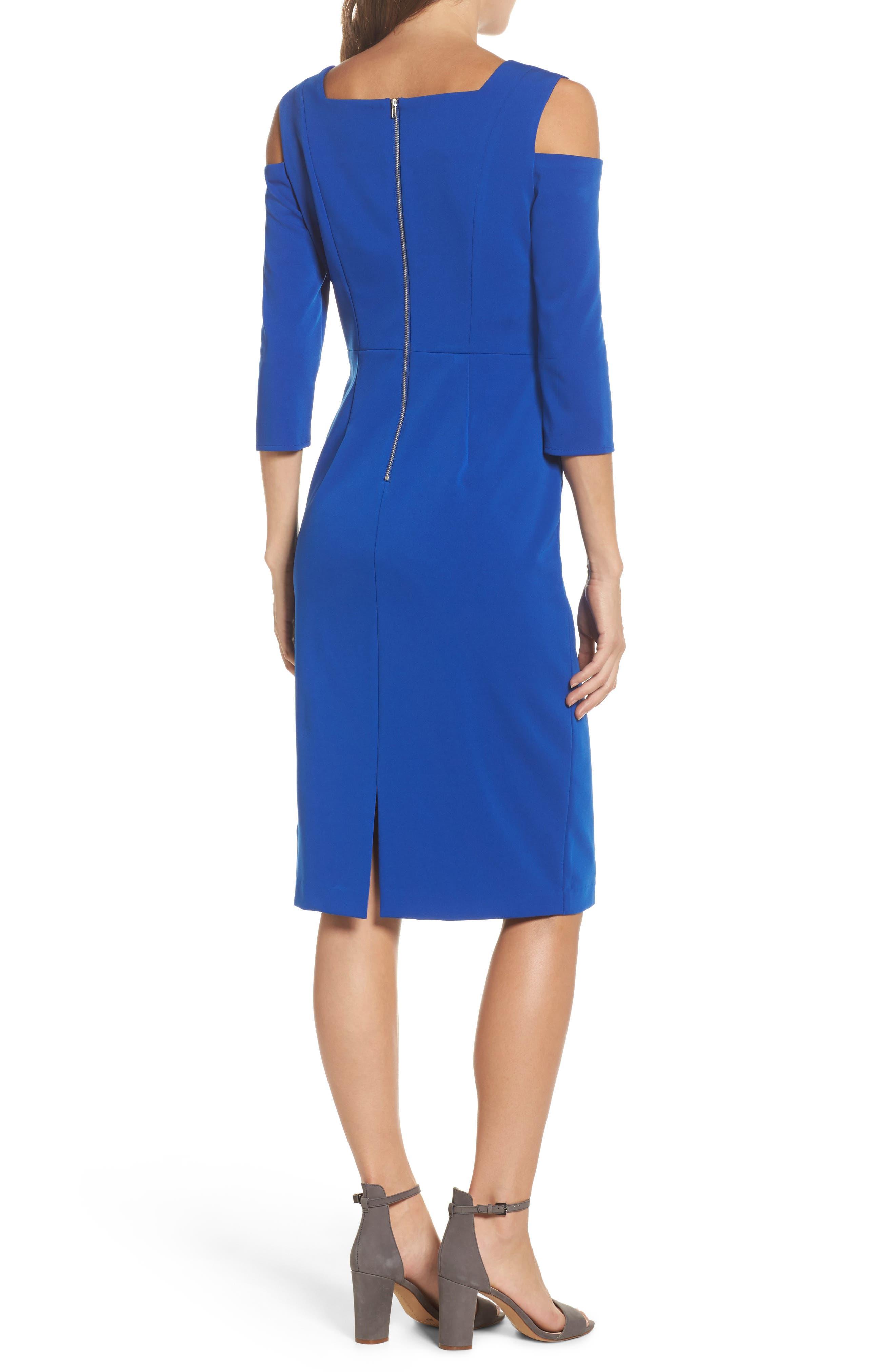 Cold Shoulder Sheath Dress,                             Alternate thumbnail 2, color,                             Cobalt