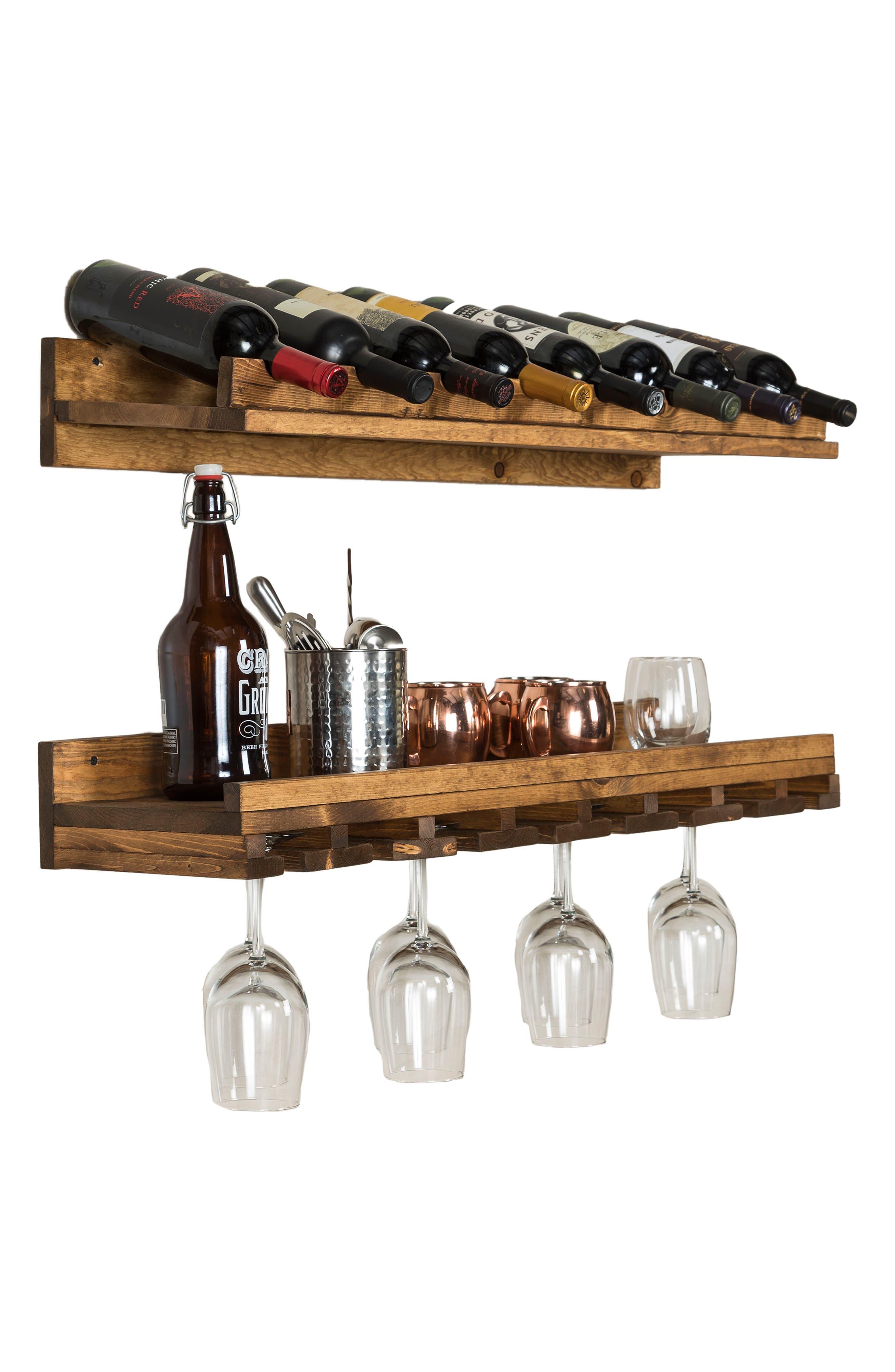 Set of 2 Pine Wood Wine Racks,                             Alternate thumbnail 2, color,                             Dark Walnut