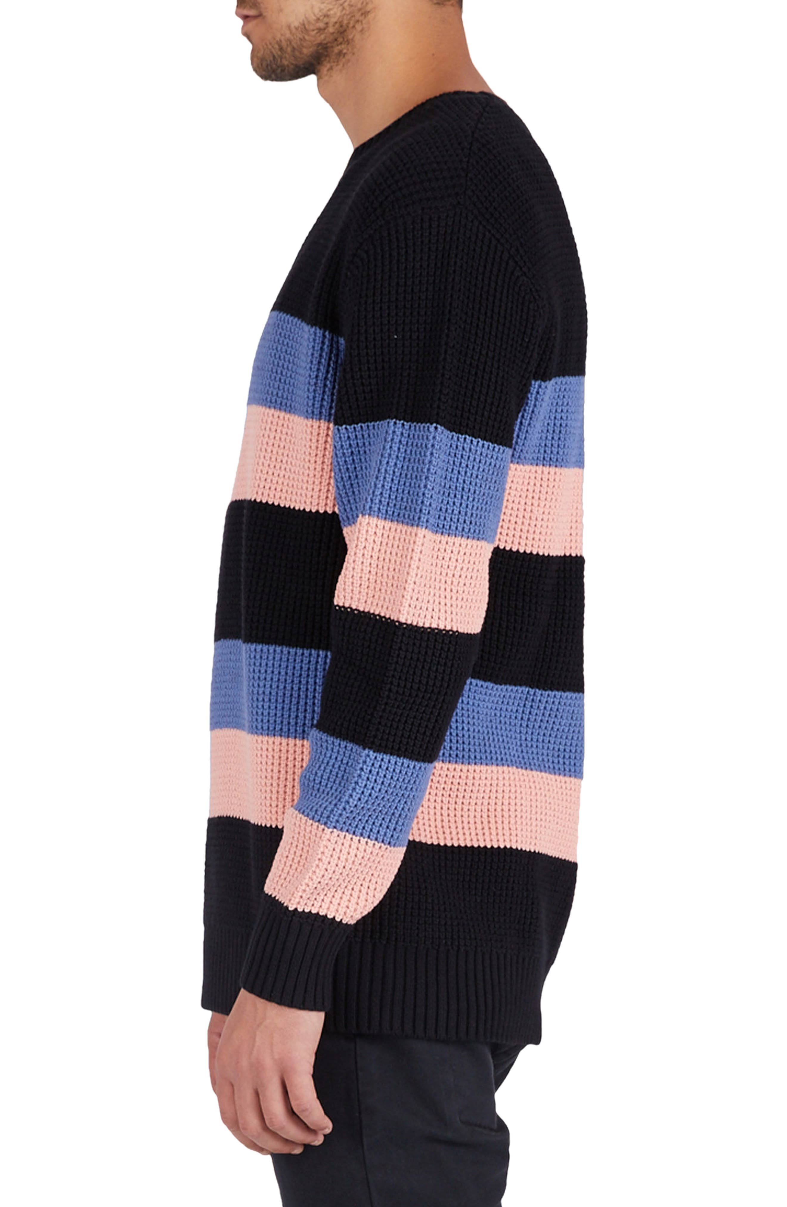 Rugby Stripe Sweater,                             Alternate thumbnail 4, color,                             Black/ Pink