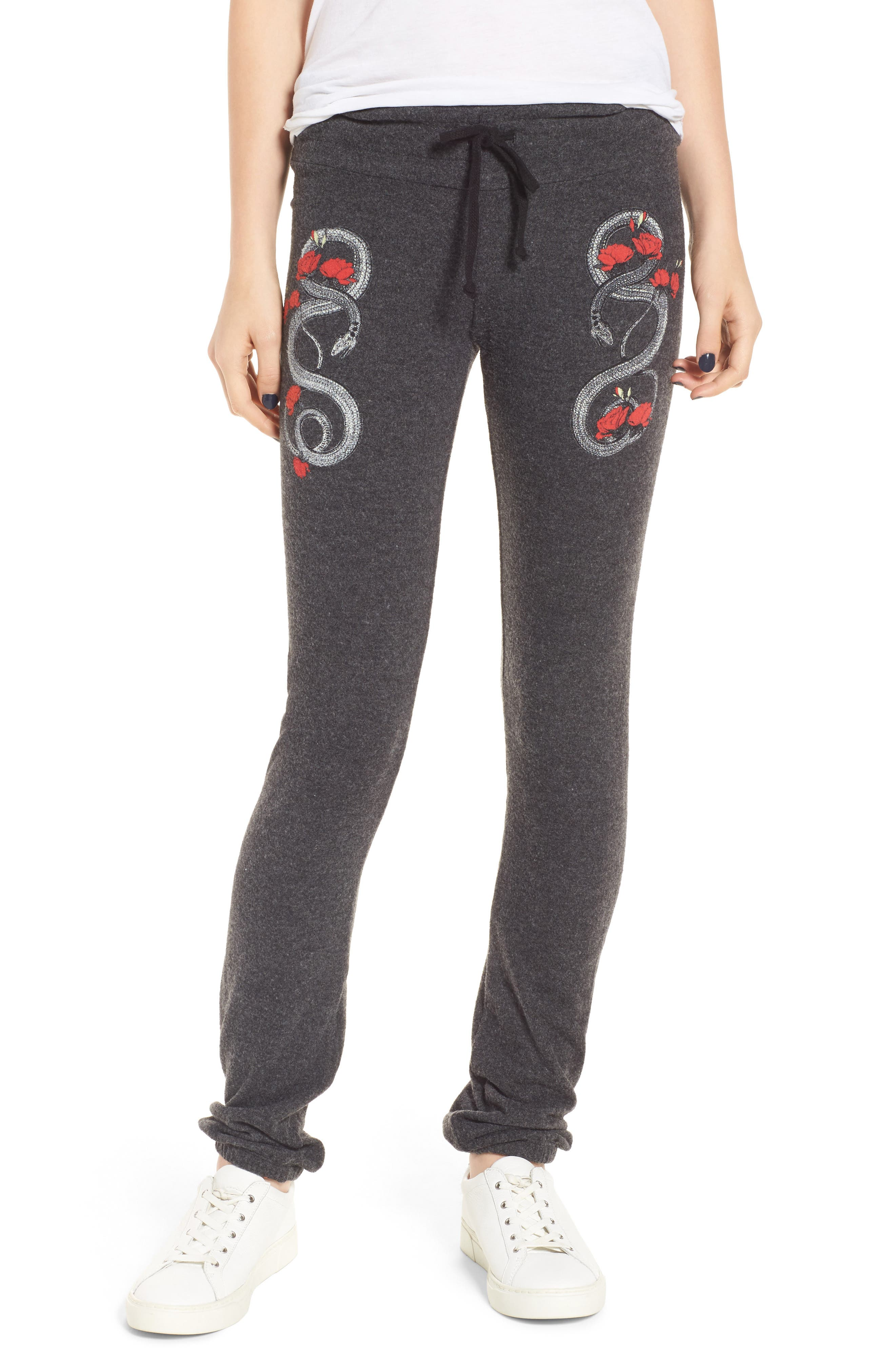 Red Snakes Sweatpants,                         Main,                         color, Clean Black