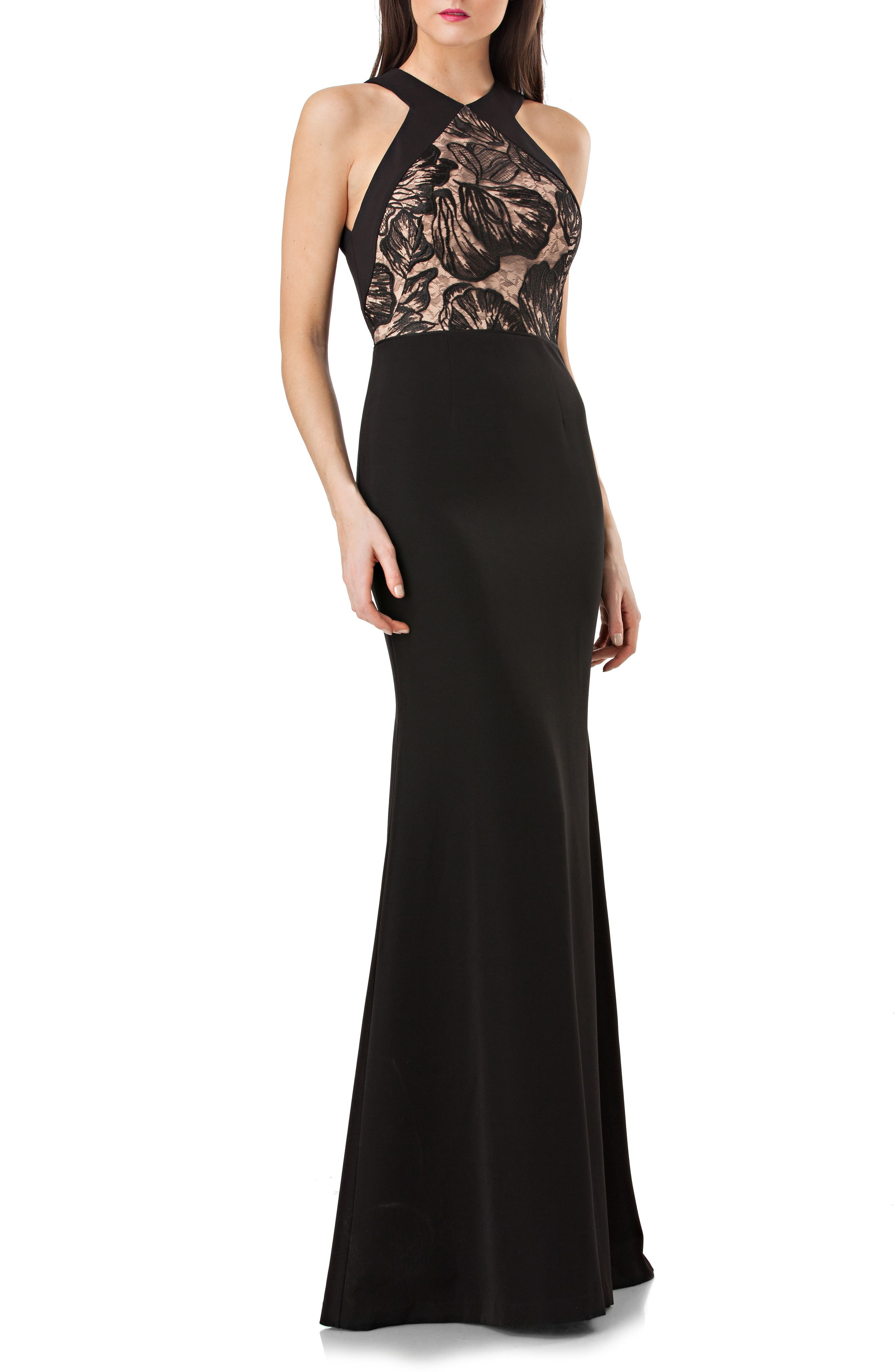 JS Collection Lace Front Halter Mermaid Gown,                         Main,                         color, Black/ Nude