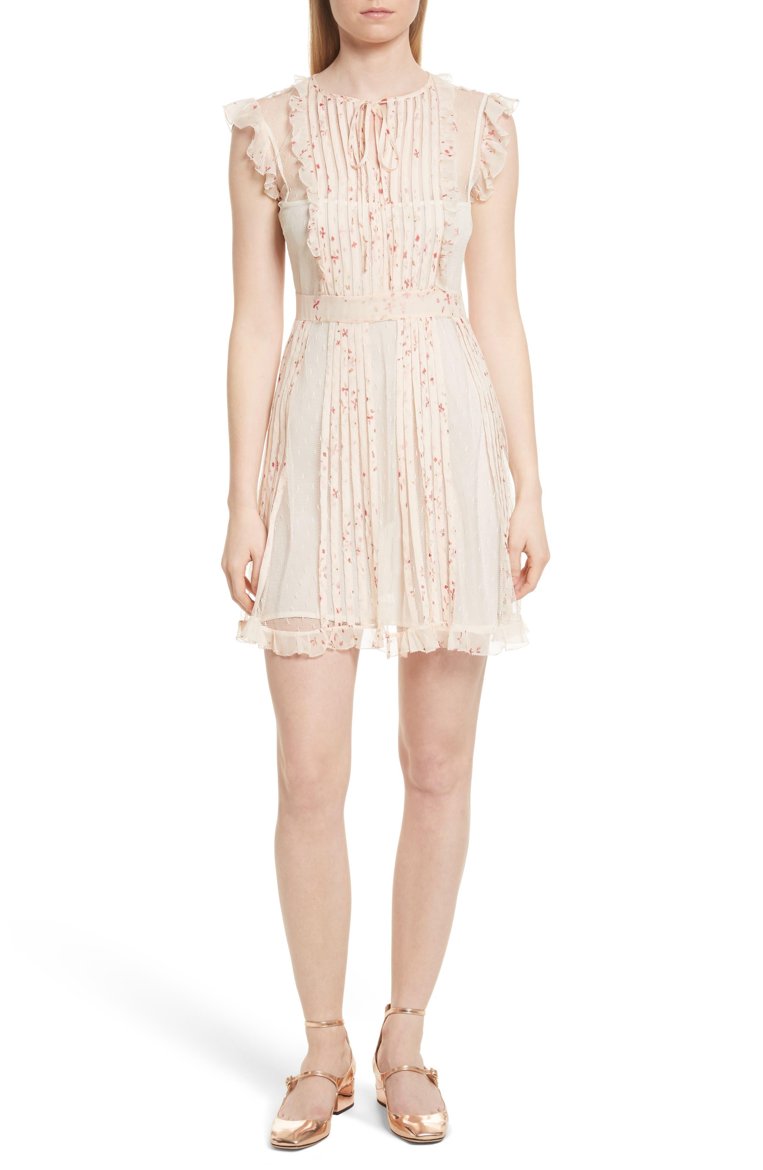 Point dEsprit Ruffle Trim Dress,                             Main thumbnail 1, color,                             Ivory