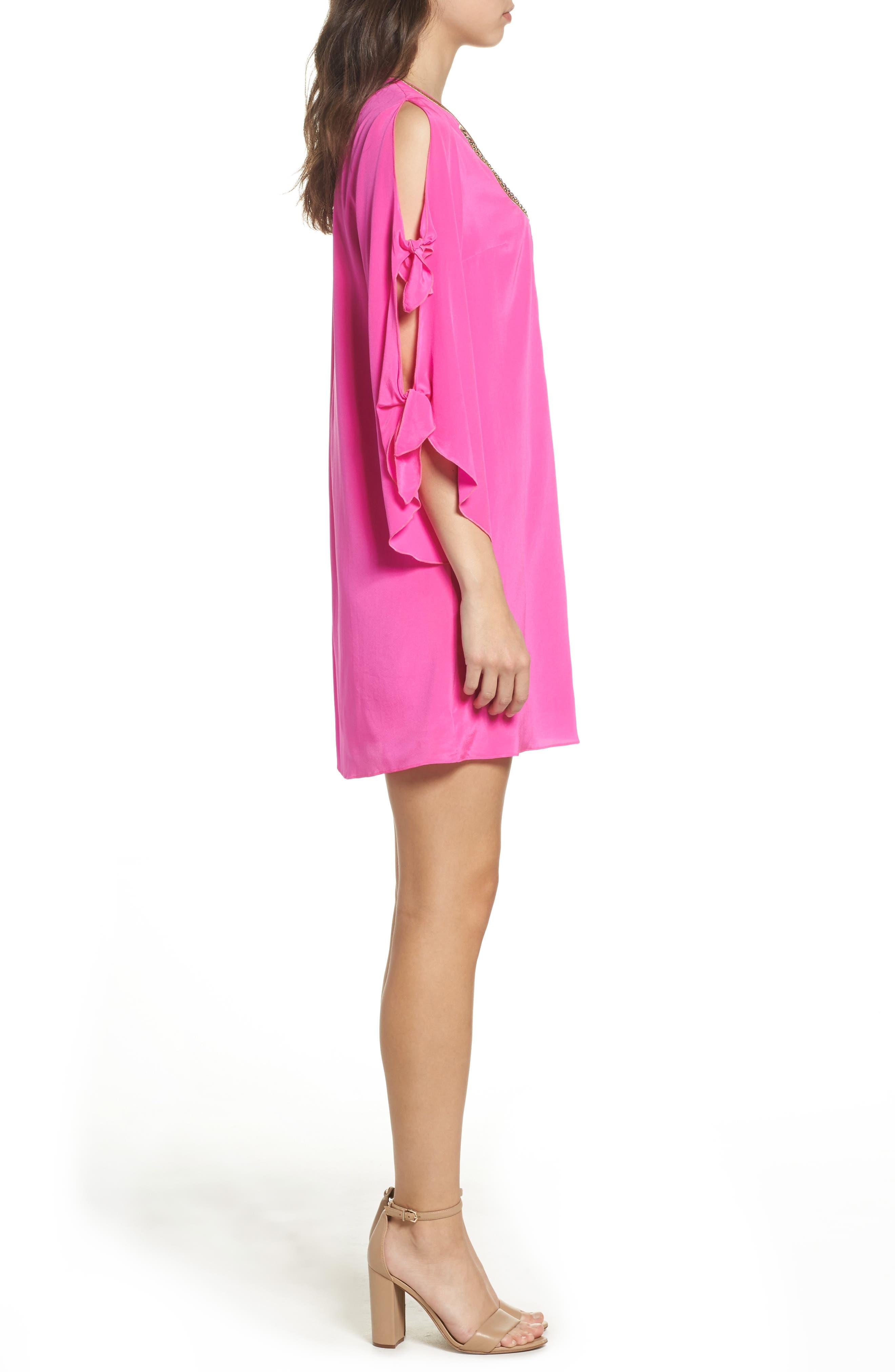 Stretch Silk Tunic Dress,                             Alternate thumbnail 3, color,                             Berry Fizz