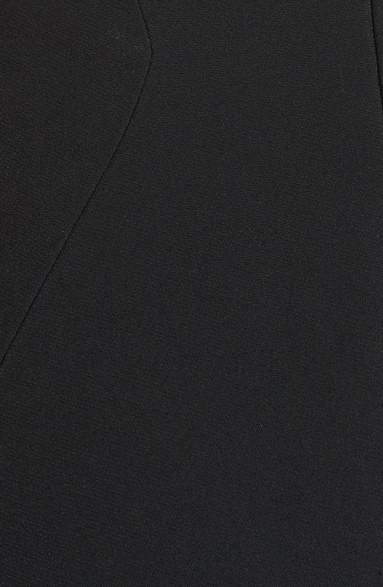 Embellished Stretch Crepe Off the Shoulder Gown,                             Alternate thumbnail 5, color,                             Black