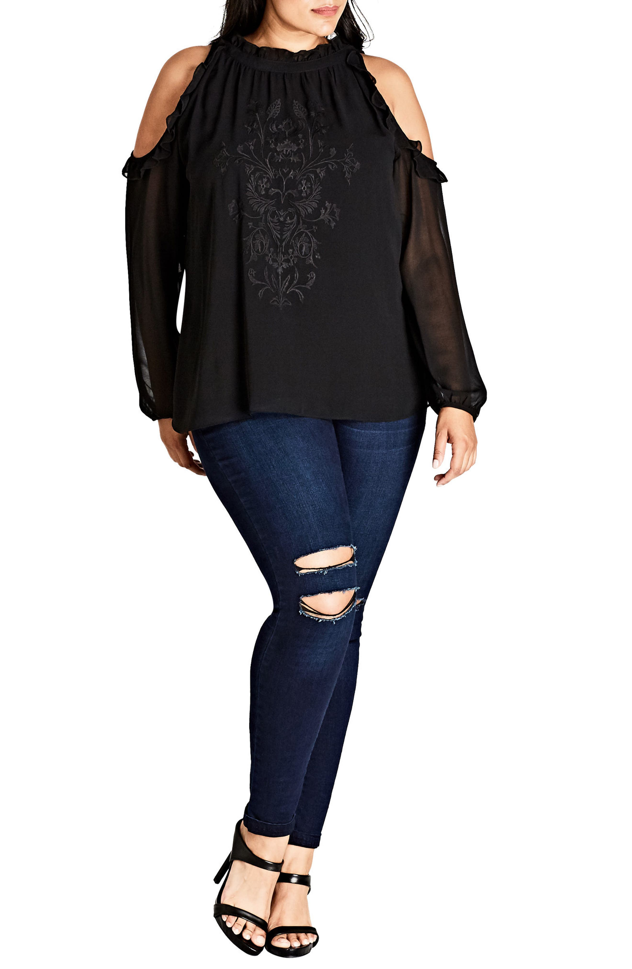 Alternate Image 1 Selected - City Chic Boho Frill Cold Shoulder Top (Plus Size)