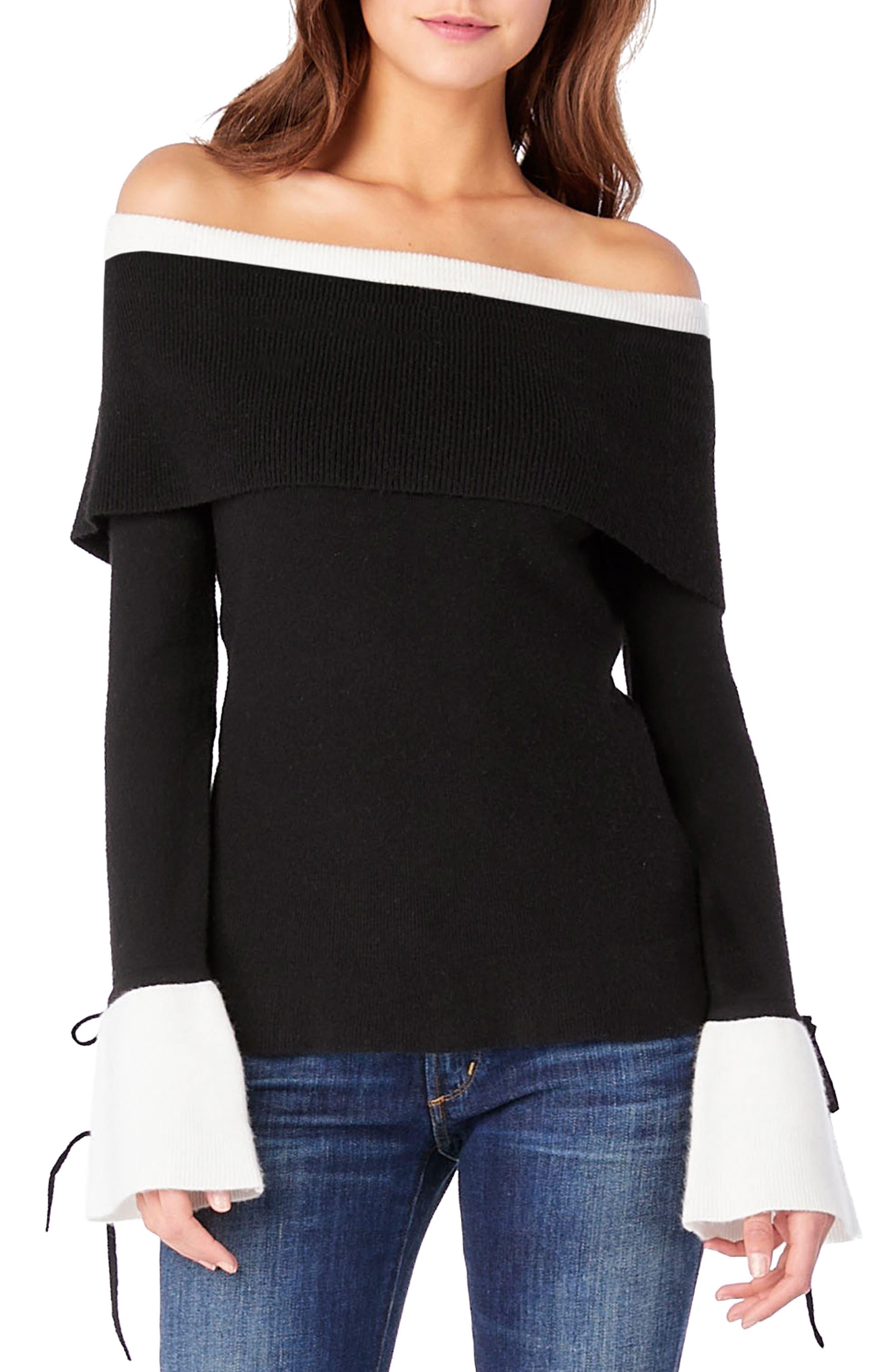 Off the Shoulder Sweater,                             Main thumbnail 1, color,                             Black/ Chalk