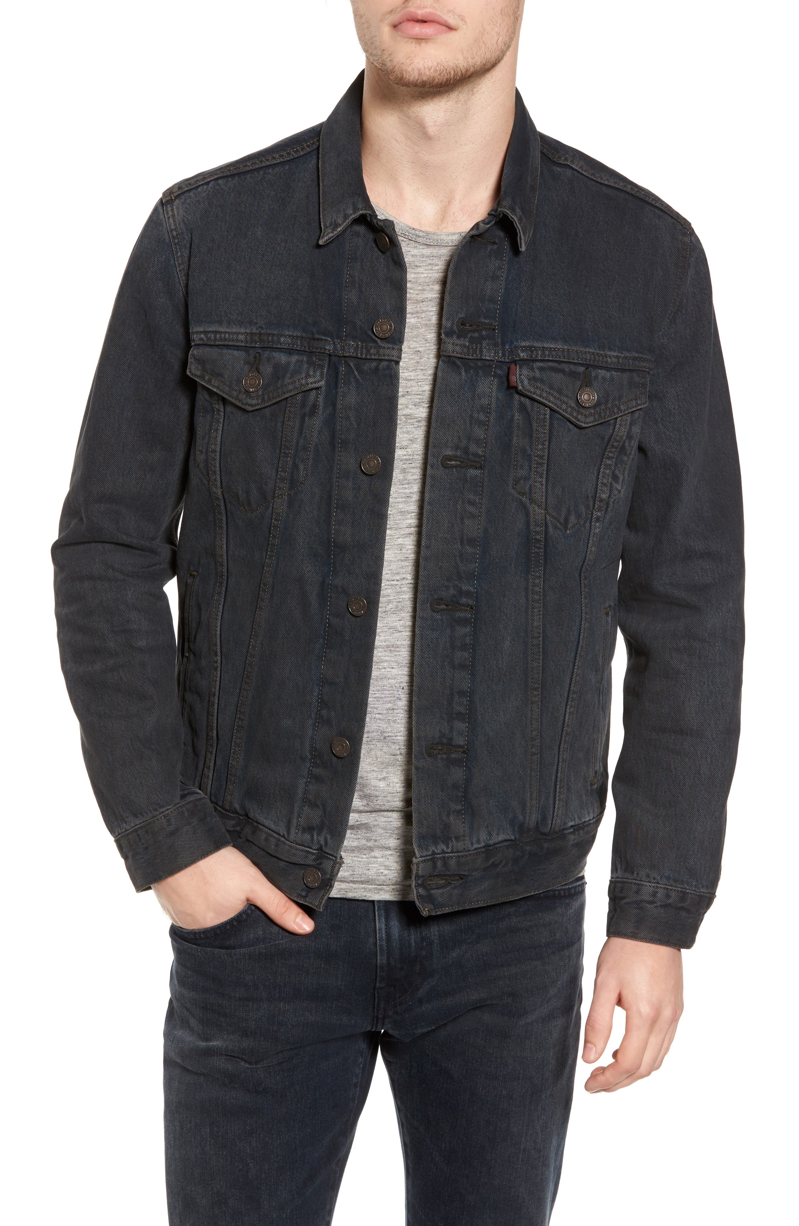 Trucker Denim Jacket,                         Main,                         color, Grey Od