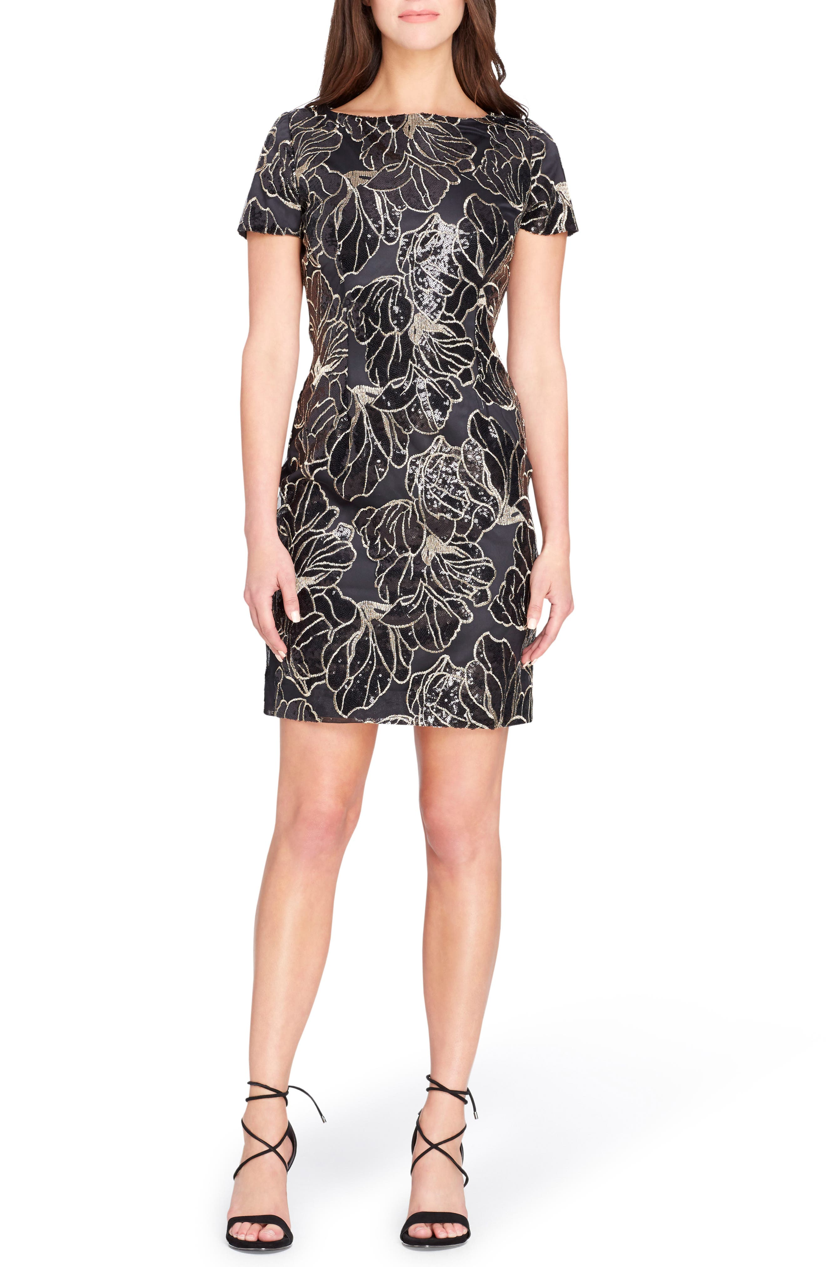 Sequin Floral Sheath Dress,                         Main,                         color, Black/ Gold