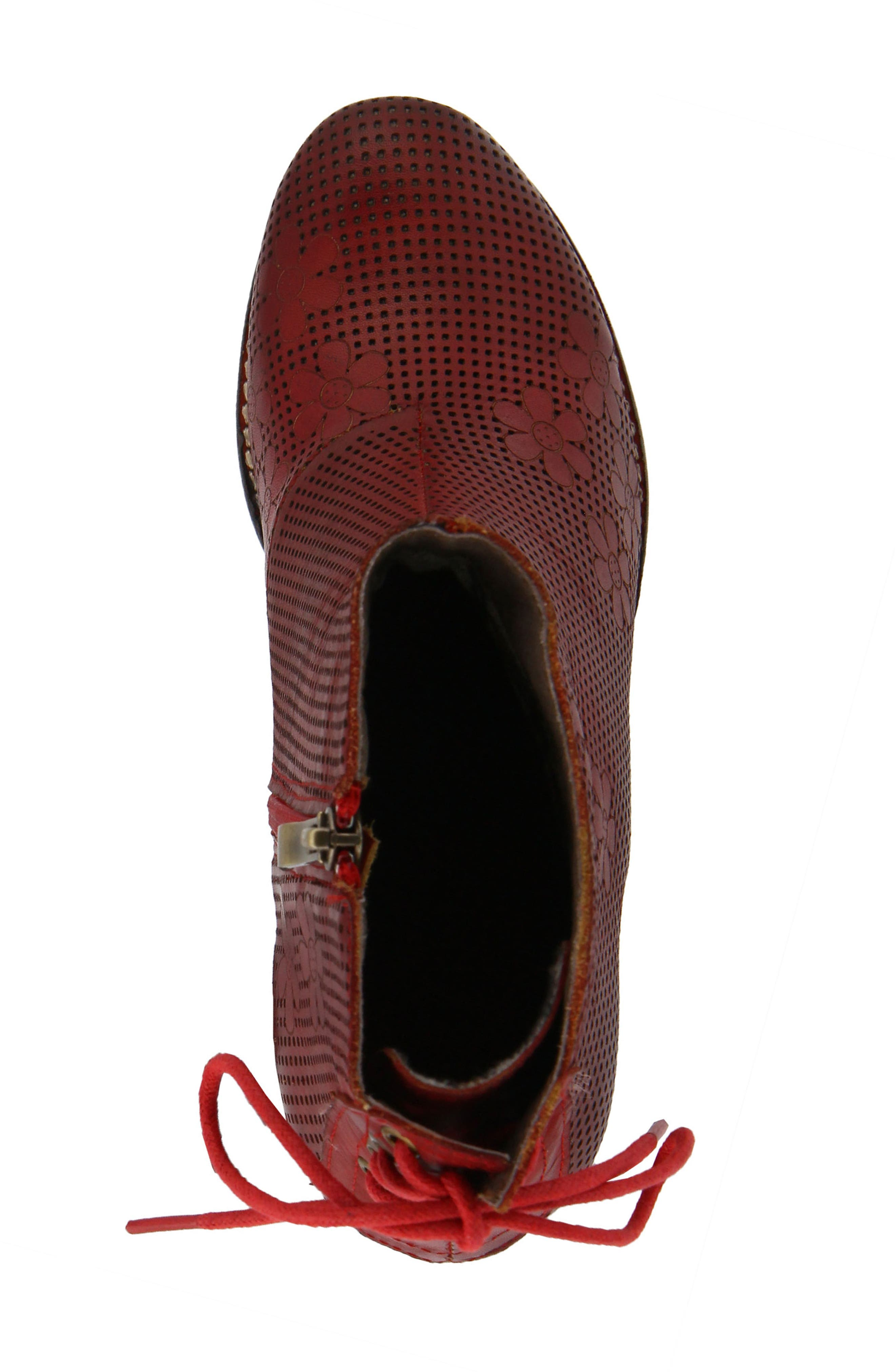 L'Artiste Teca Bootie,                             Alternate thumbnail 4, color,                             Red Leather
