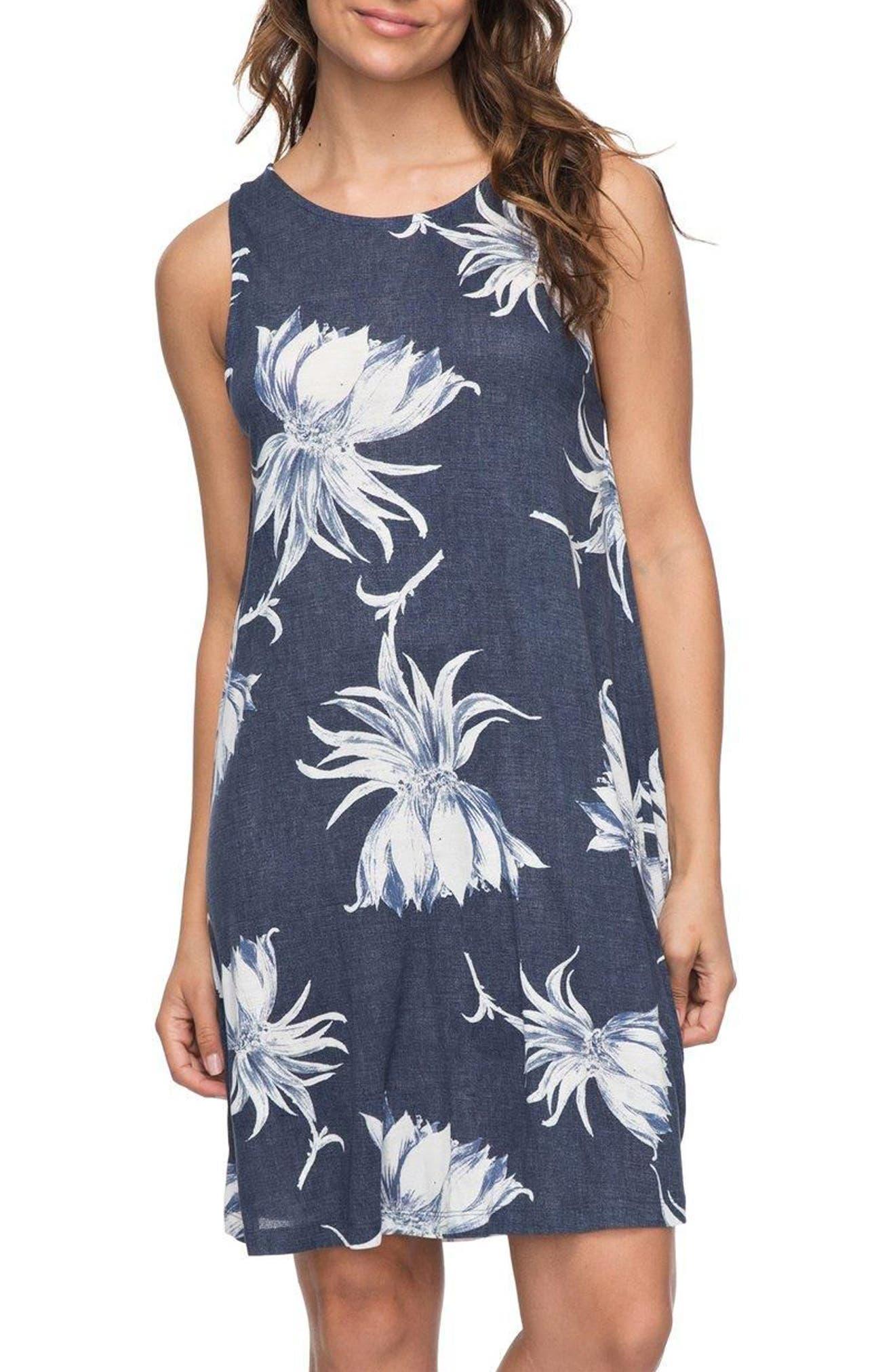 Sugar Space Shift Dress,                         Main,                         color, Dress Blue Cadaques Flower