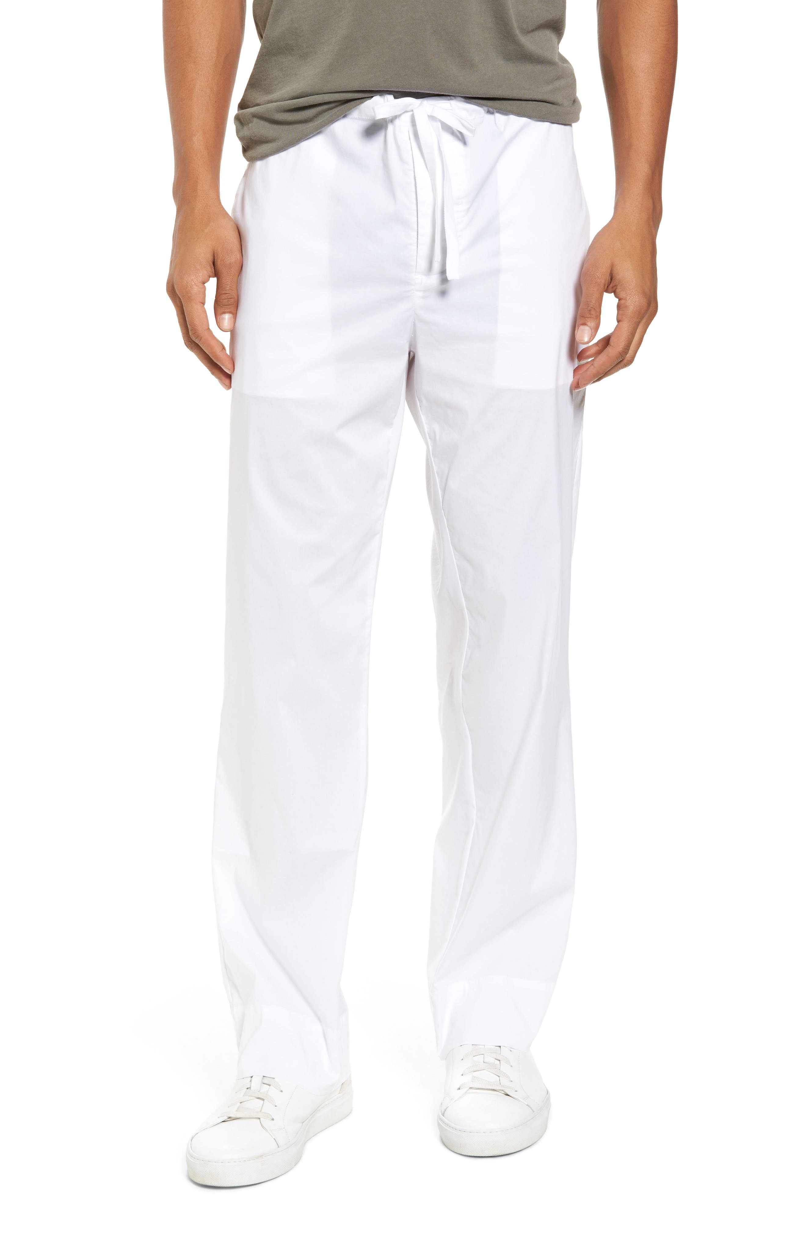 Drawstring Waist Pants,                         Main,                         color, White