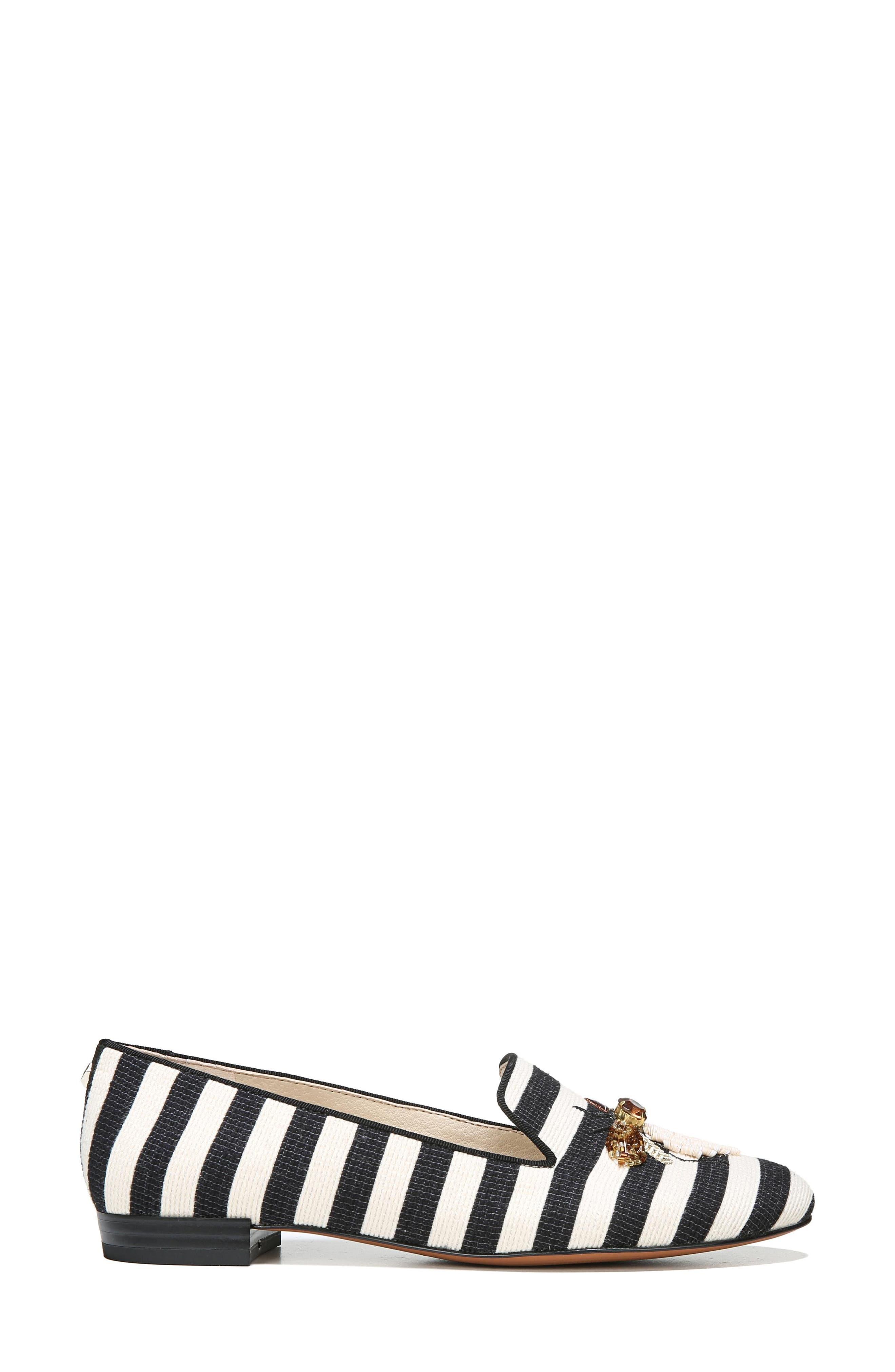 Jill Loafer,                             Alternate thumbnail 3, color,                             Ivory/ Black Stripe