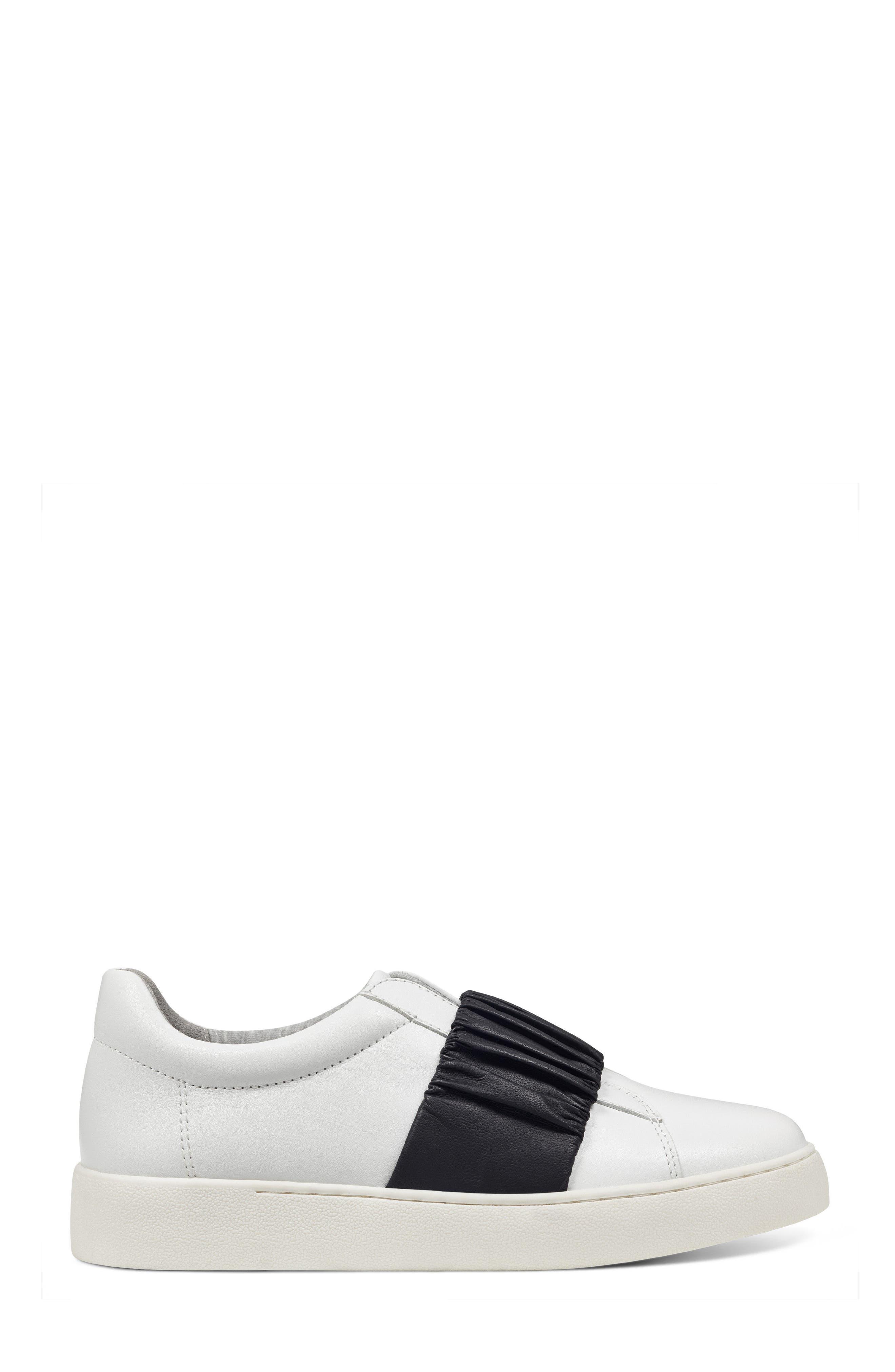 Pindiviah Slip-On Sneaker,                             Alternate thumbnail 3, color,                             White/ Black Leather