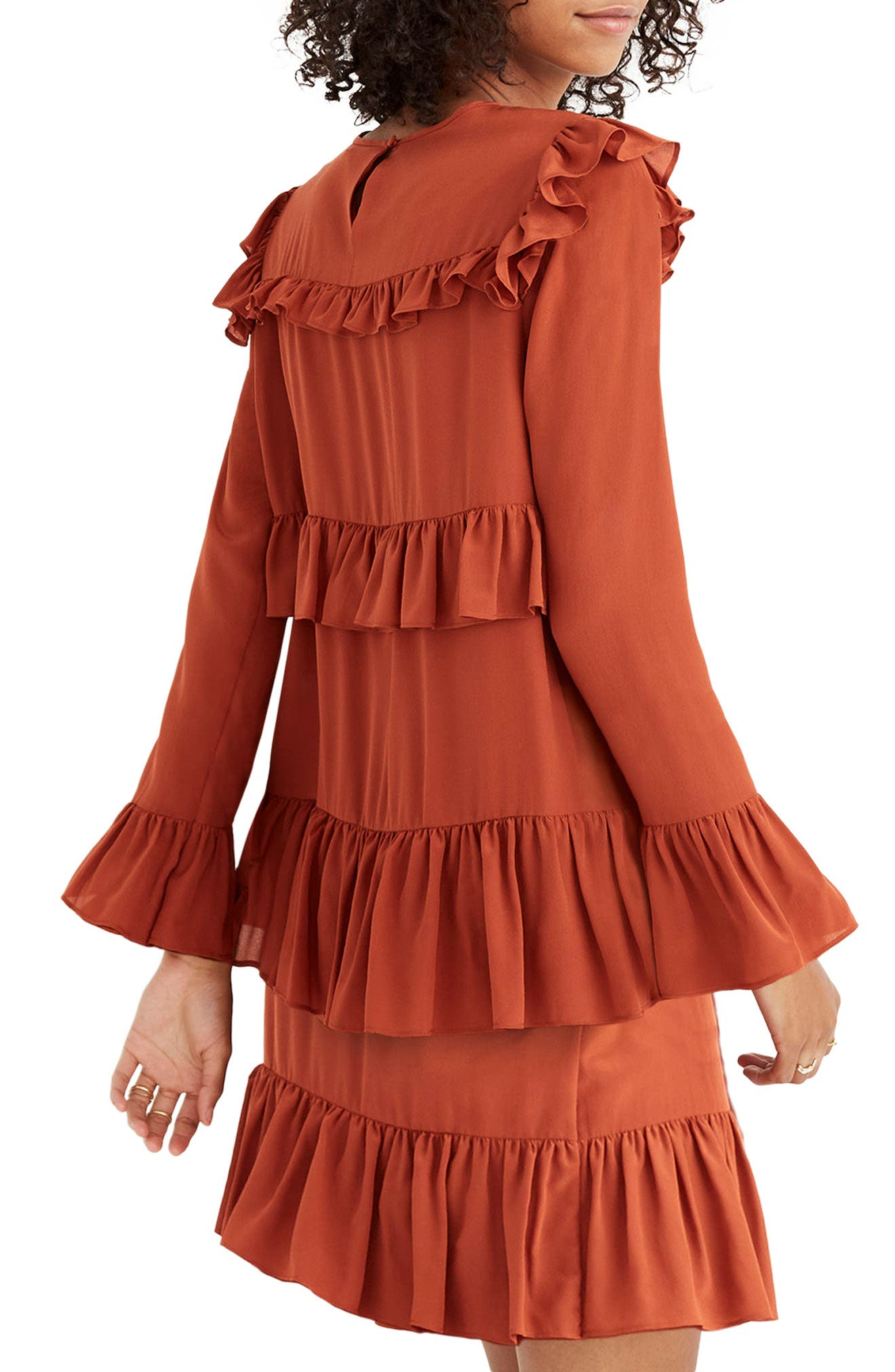 Waterlily Ruffle Dress,                             Alternate thumbnail 2, color,                             Burnished Rust