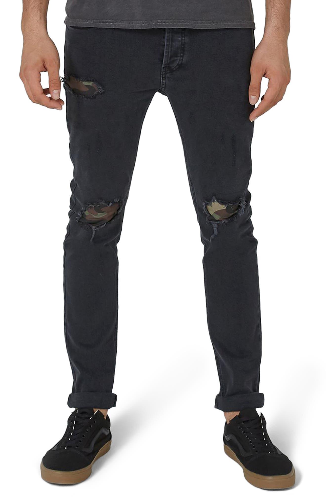 Topman Camo Patch Skinny Jeans