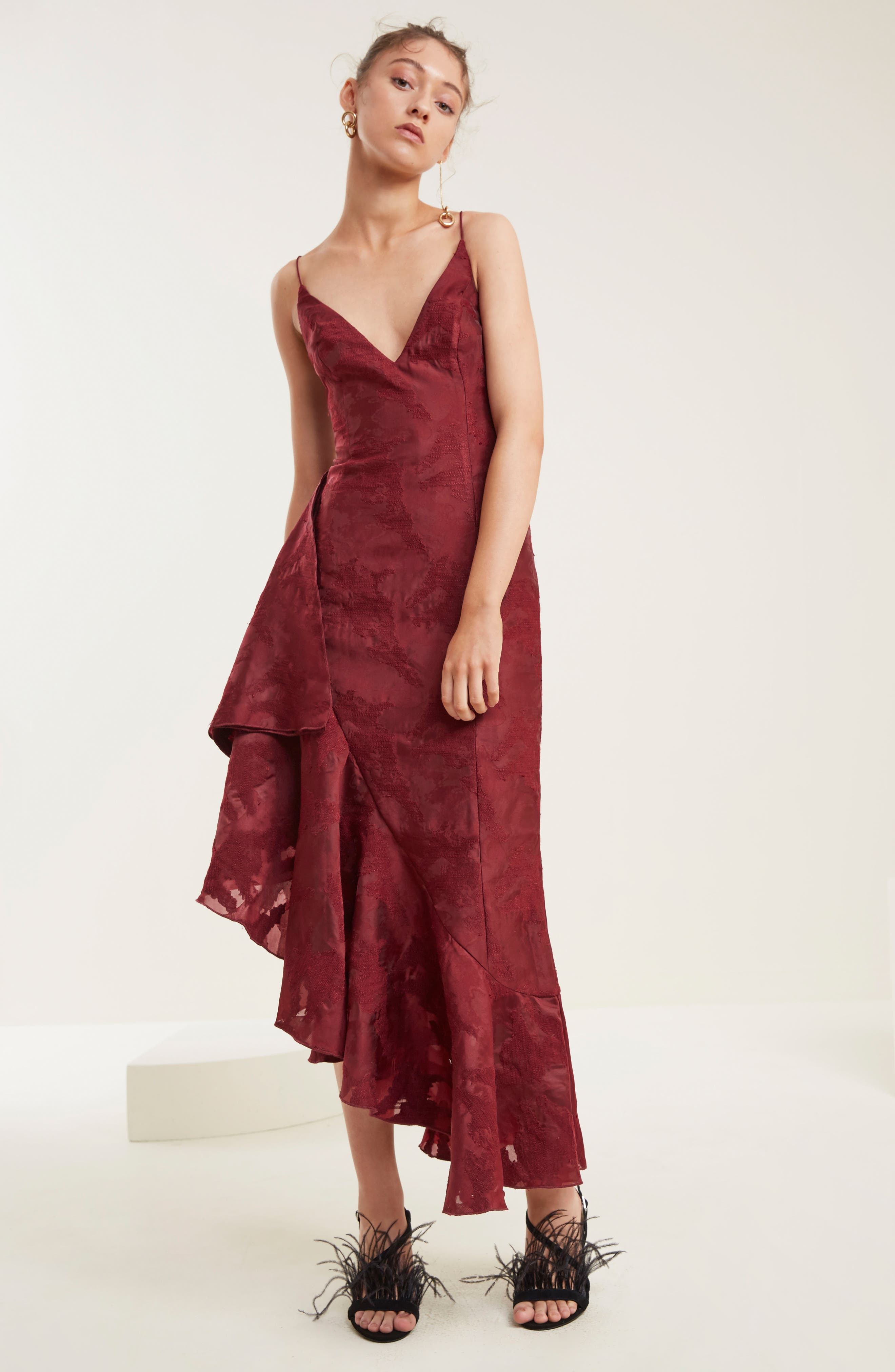Ember Burnout Asymmetrical Ruffle Dress,                             Alternate thumbnail 2, color,                             Ruby