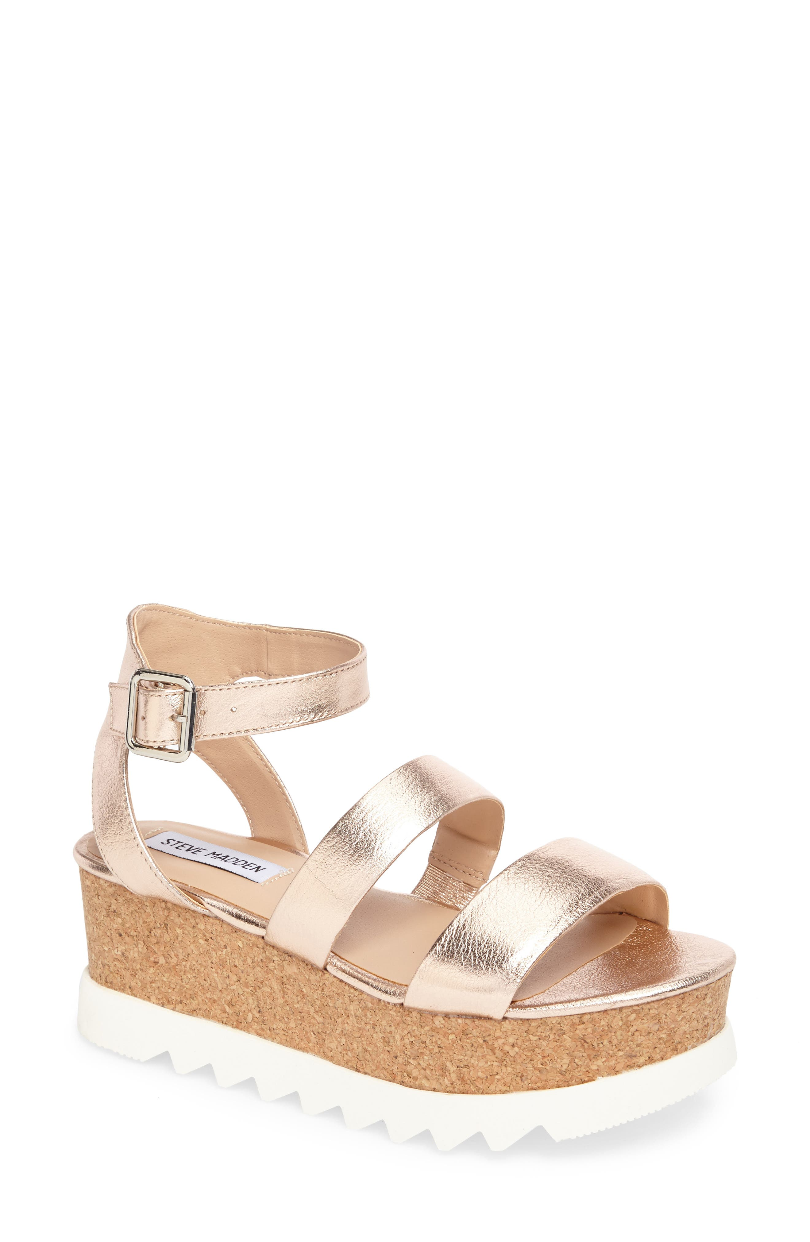 Kirsten Layered Platform Sandal,                         Main,                         color, Rose Leather