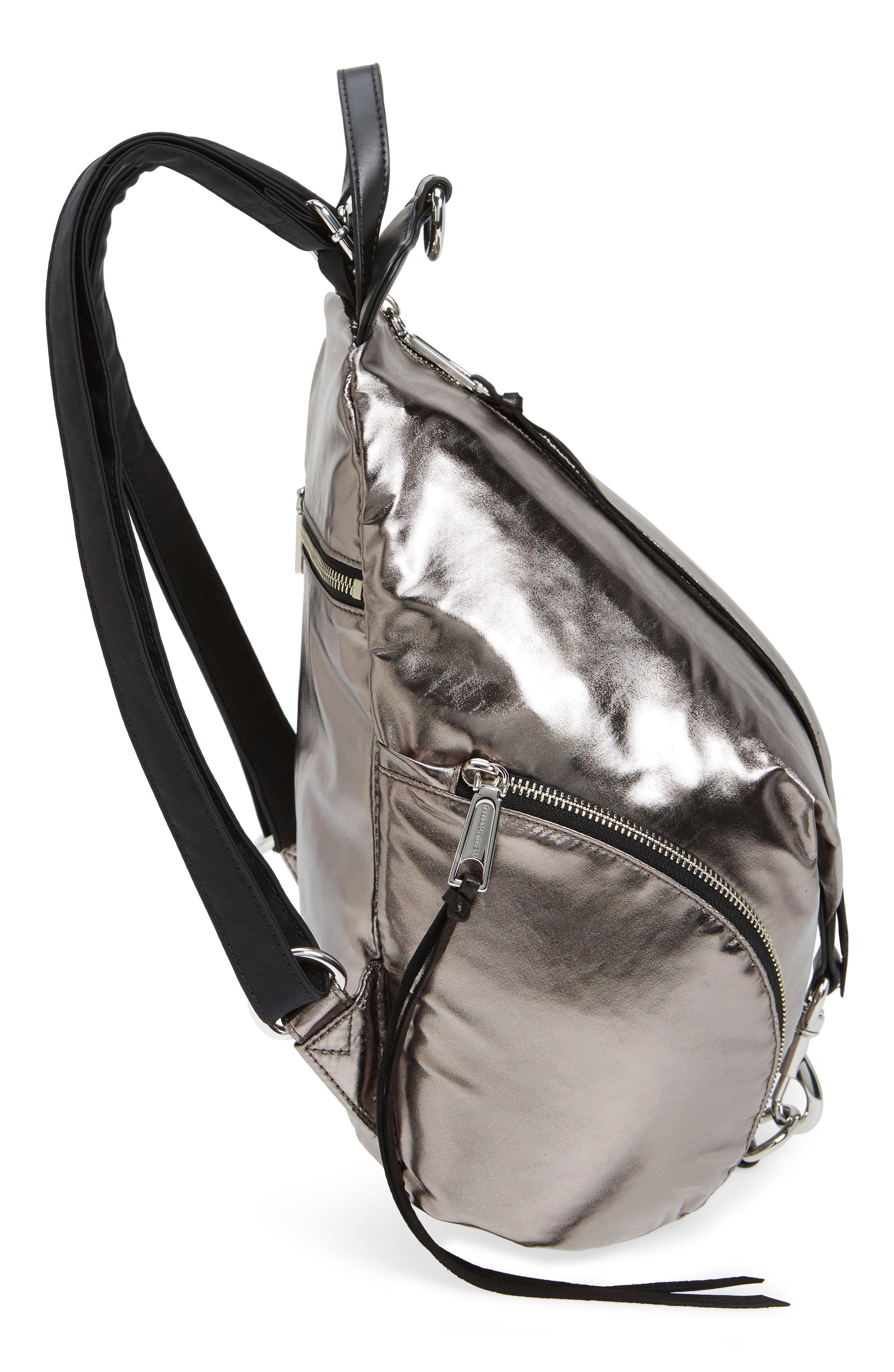 Julian Nylon Backpack,                             Alternate thumbnail 5, color,                             Silver
