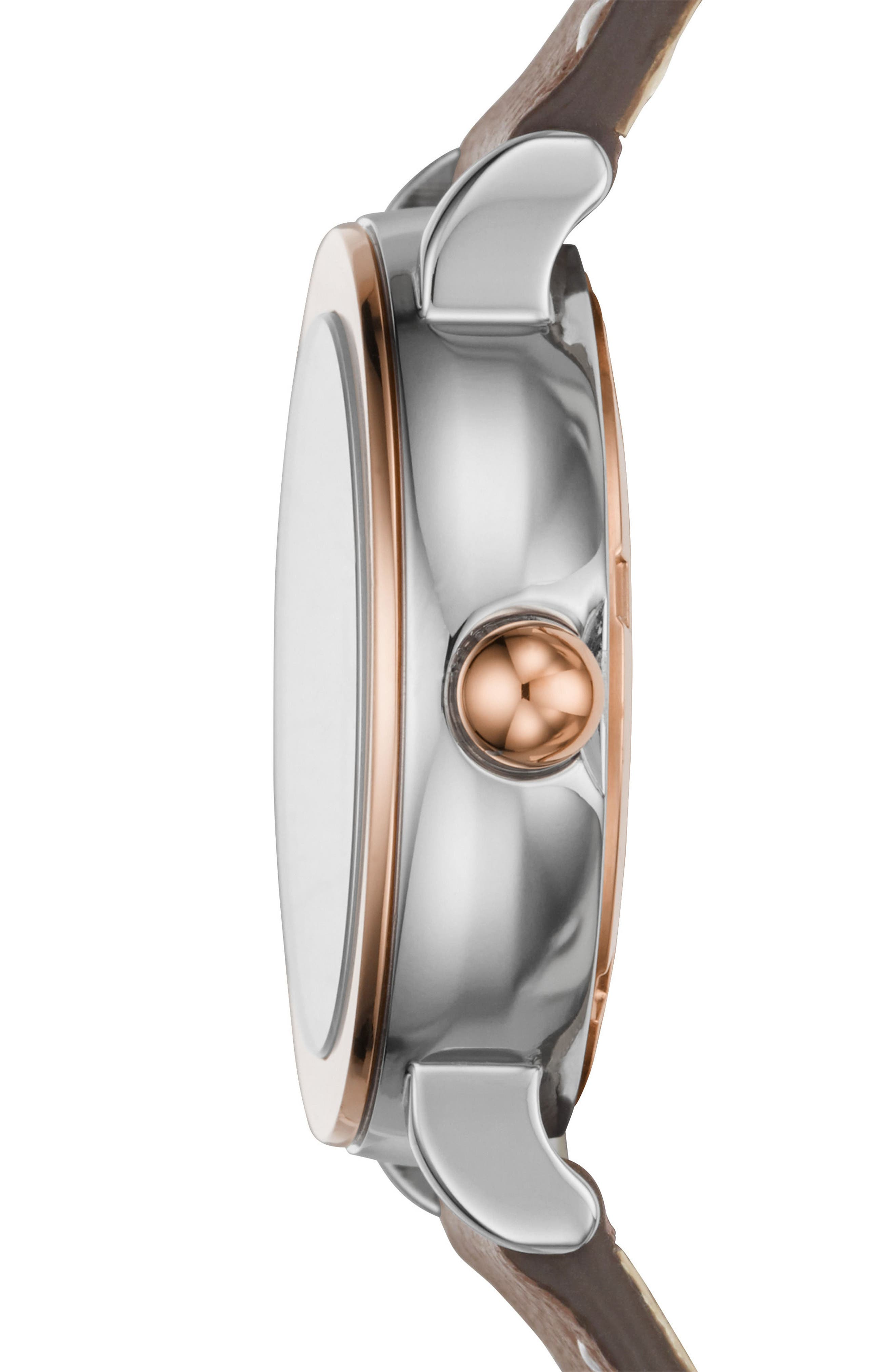 Riley Leather Strap Watch, 28mm,                             Alternate thumbnail 2, color,                             Grey/ White/ Rose Gold