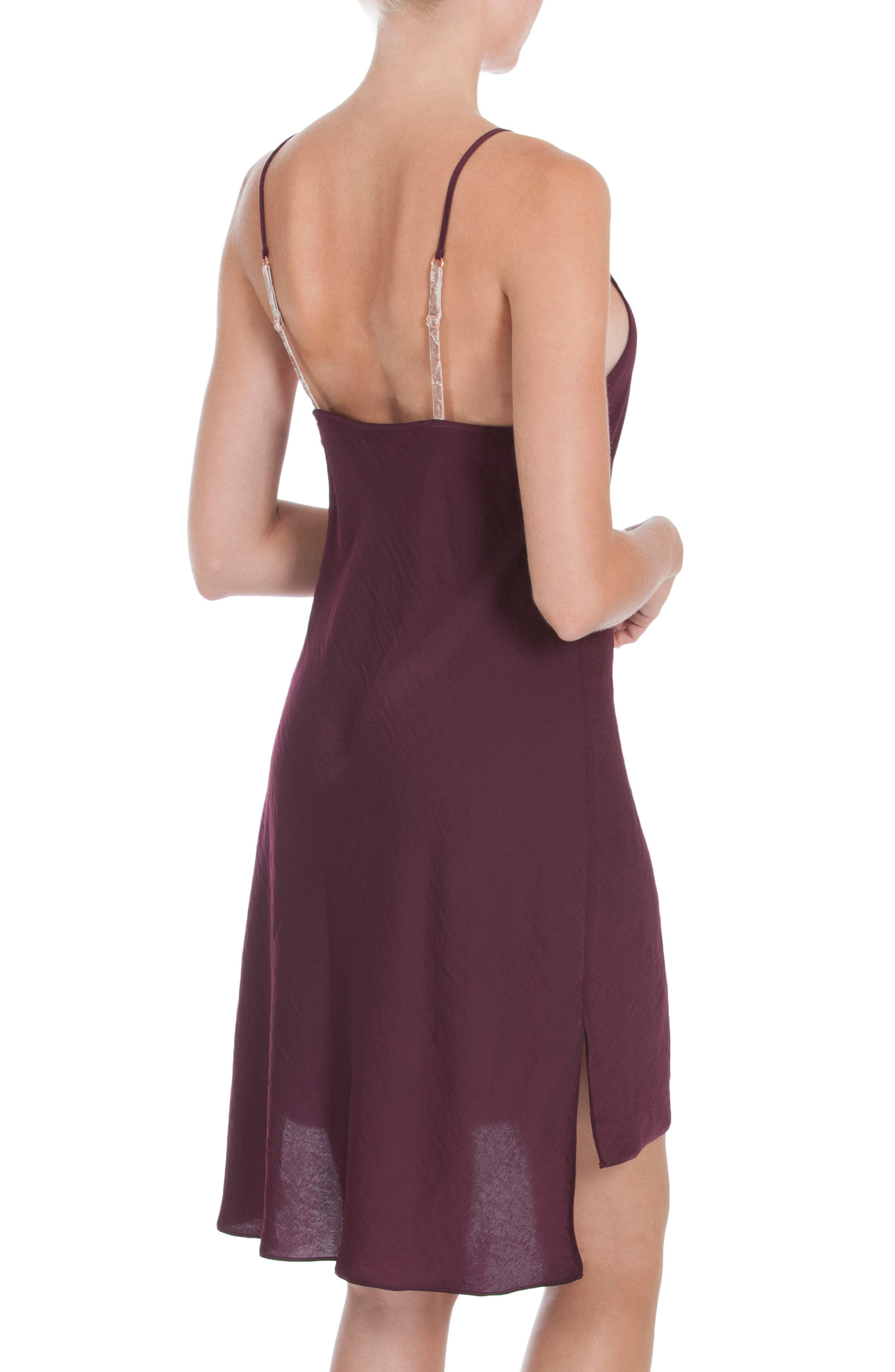 Satin Nightgown,                             Alternate thumbnail 2, color,                             Wine