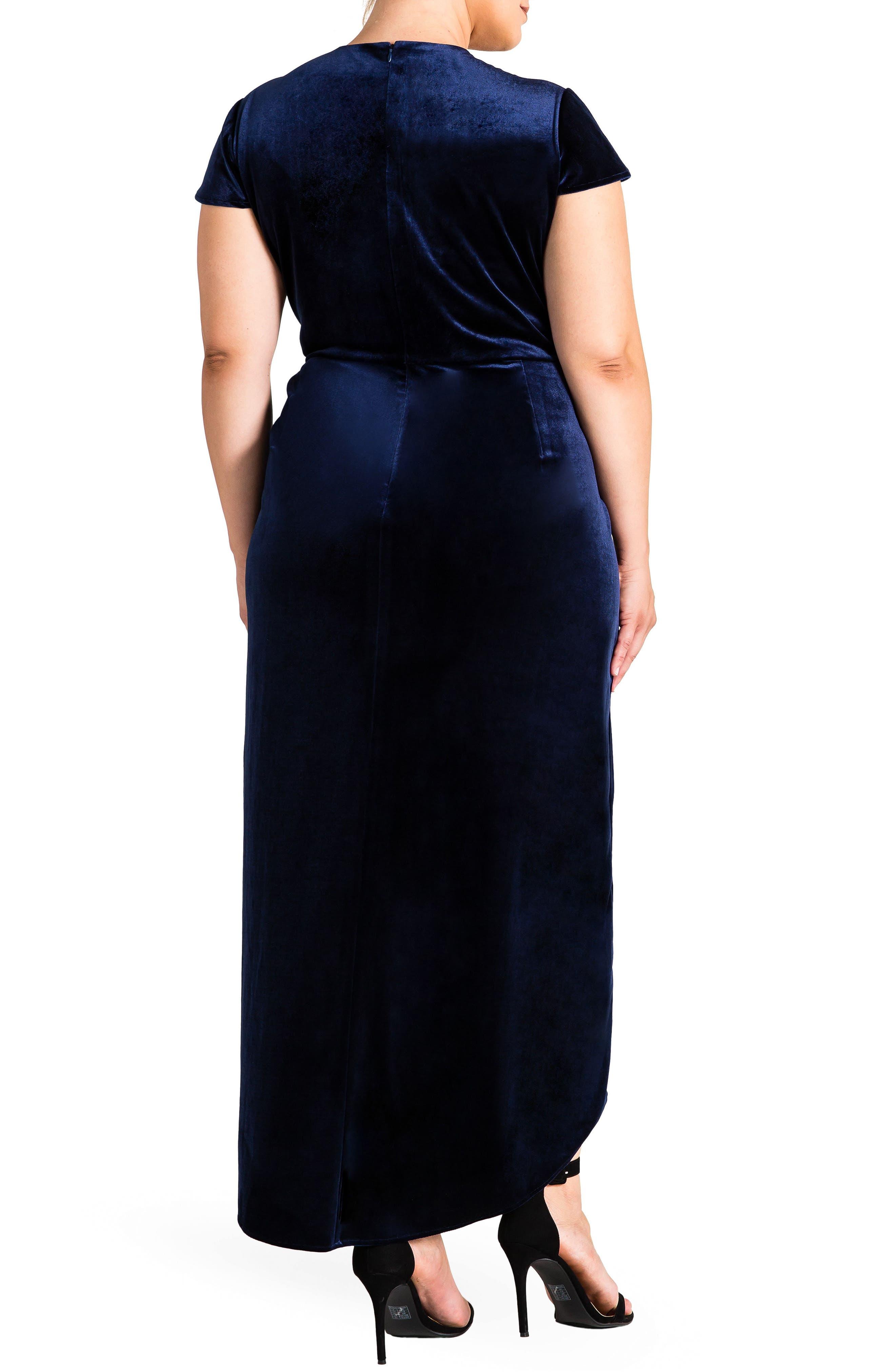 Luna Velvet Dress,                             Alternate thumbnail 2, color,                             Midnight Blue