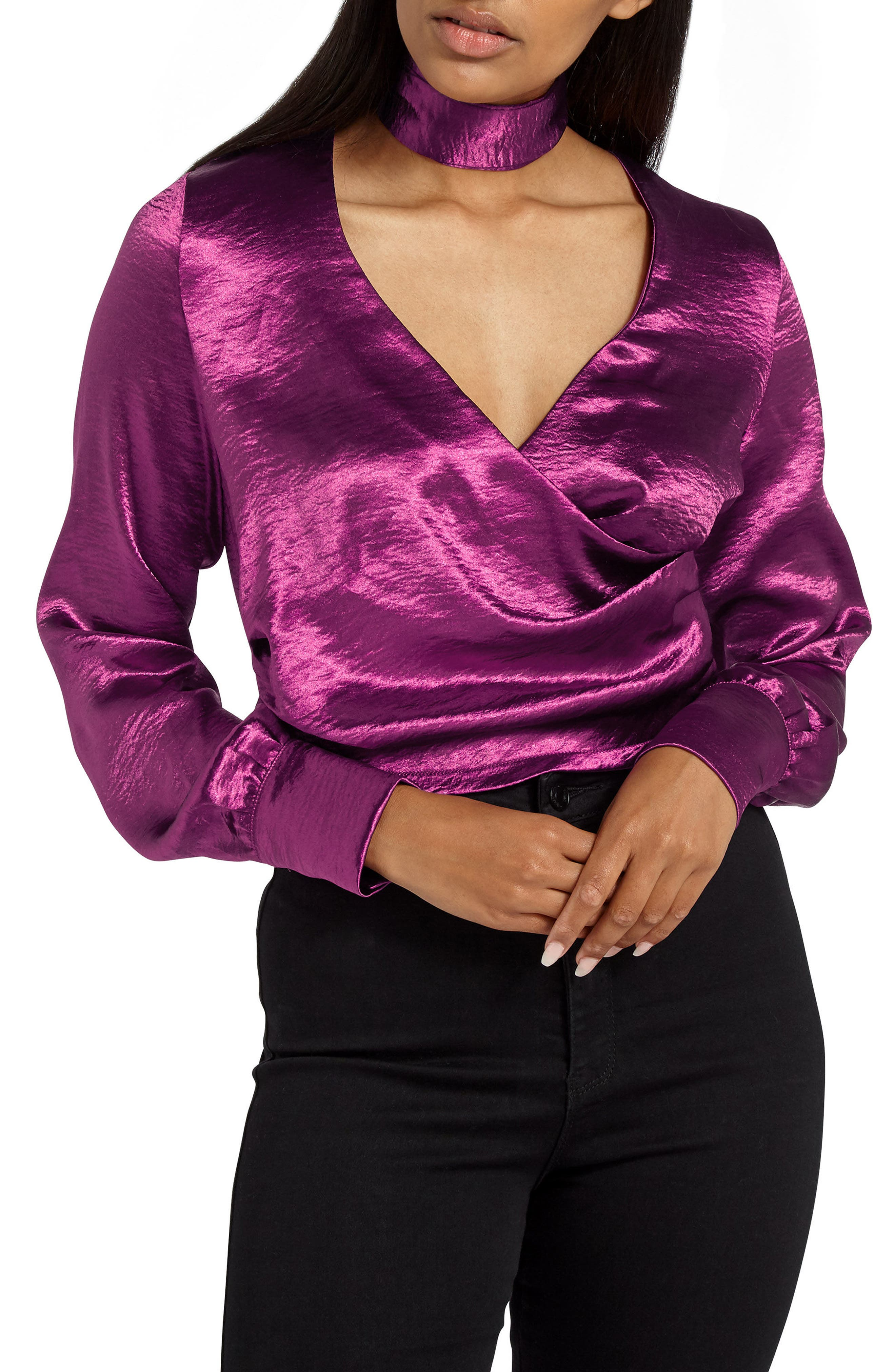 Alternate Image 1 Selected - Missguided Choker Collar Faux Wrap Blouse