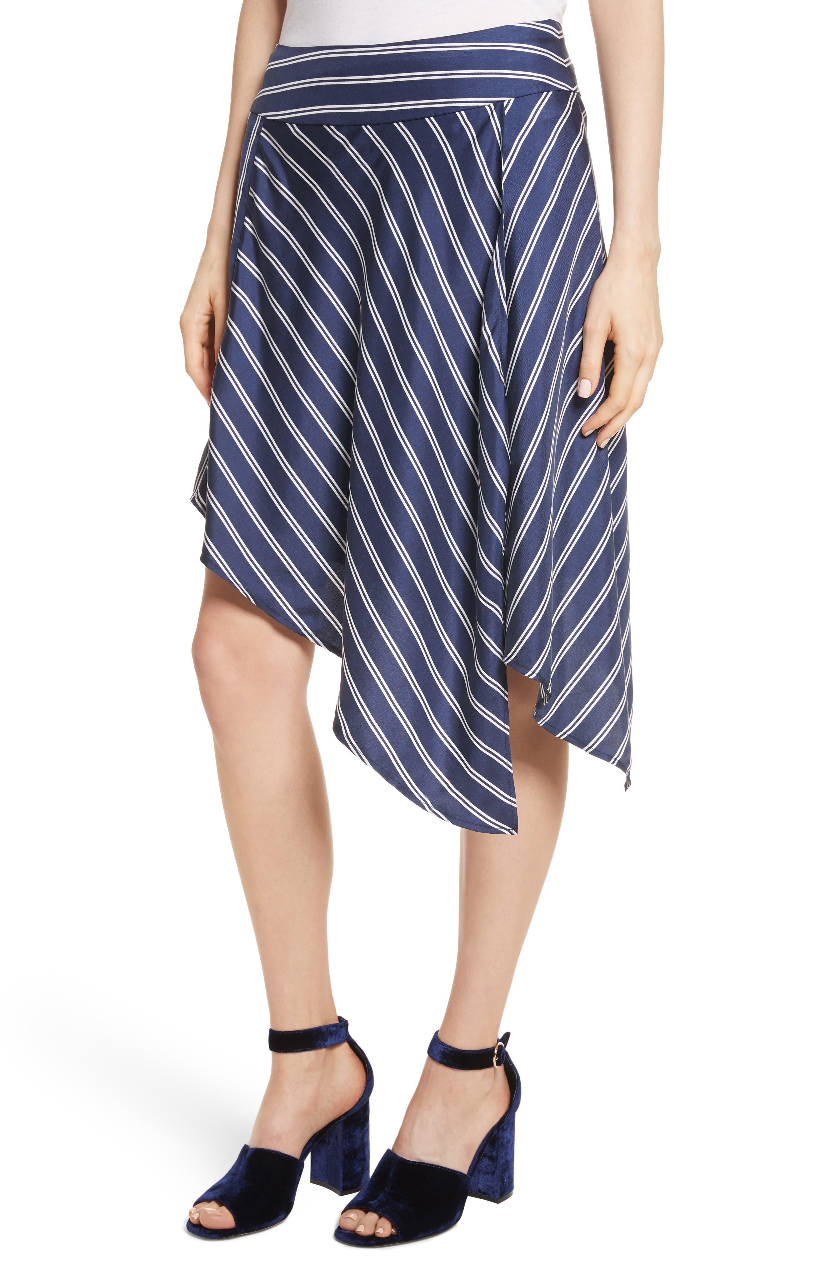 Adelpha Stripe Silk Skirt,                             Alternate thumbnail 4, color,                             Dark Navy