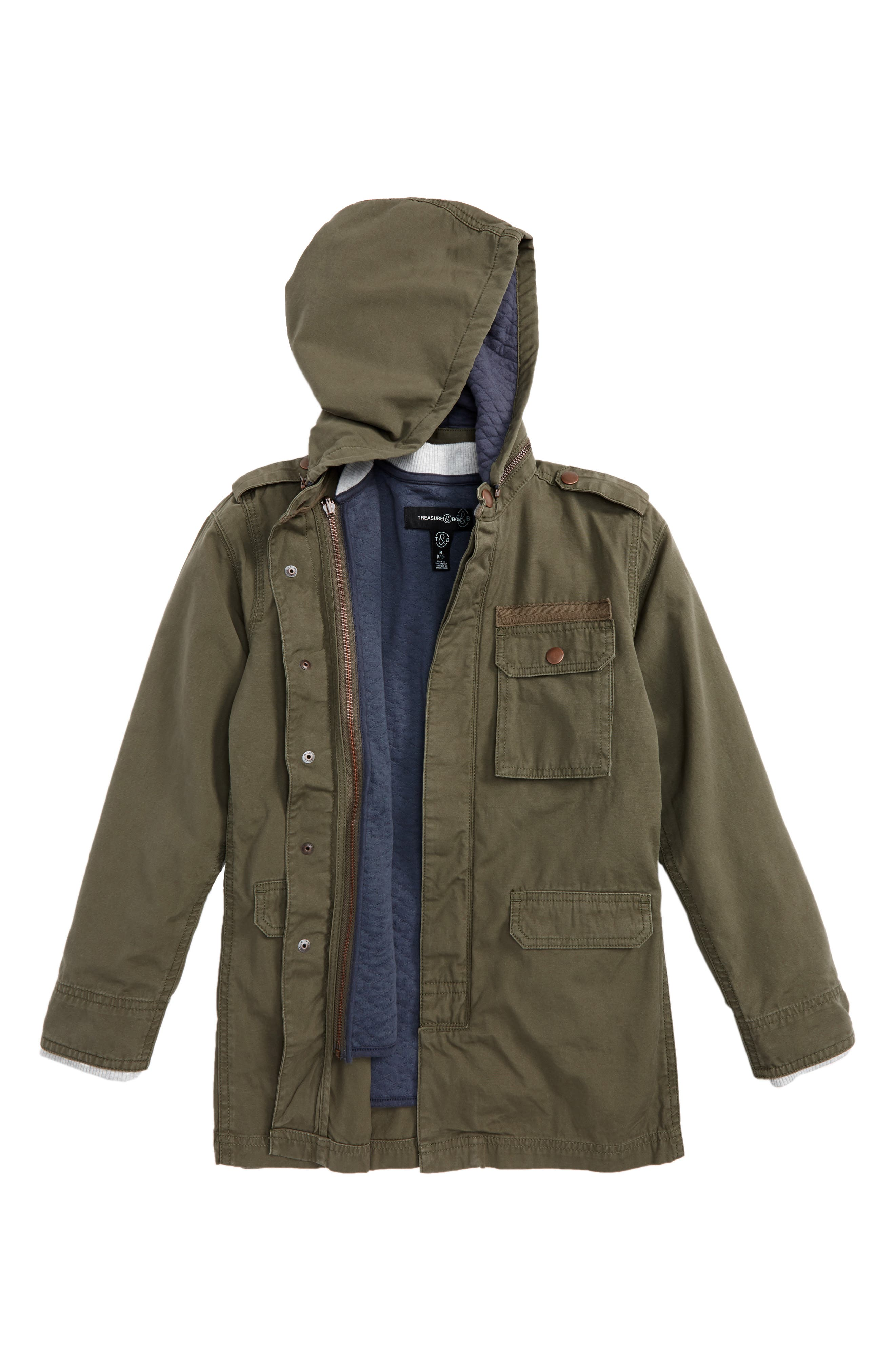 2-in-1 Hooded Military Jacket,                         Main,                         color, Olive Sarma