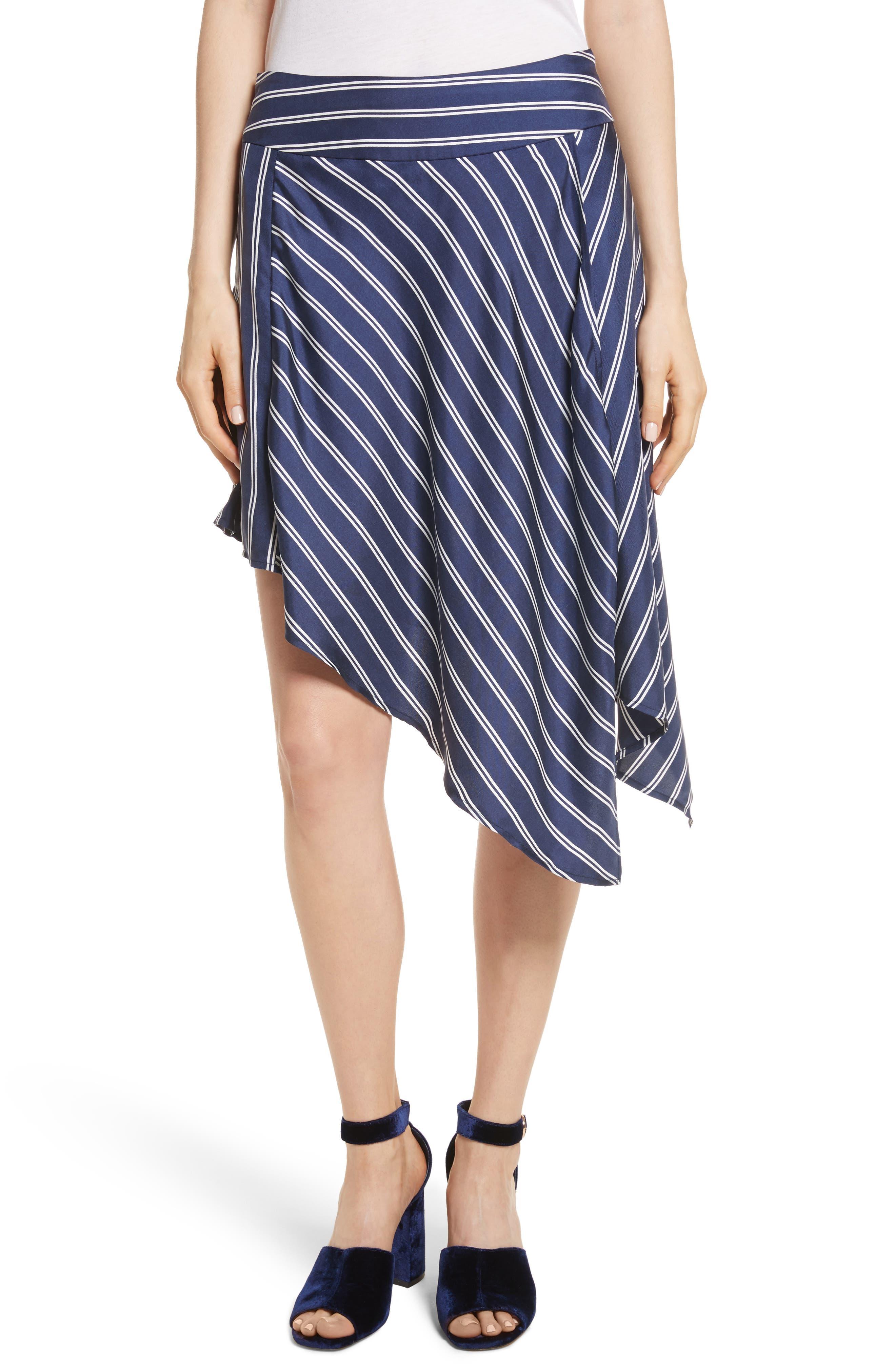 Adelpha Stripe Silk Skirt,                         Main,                         color, Dark Navy