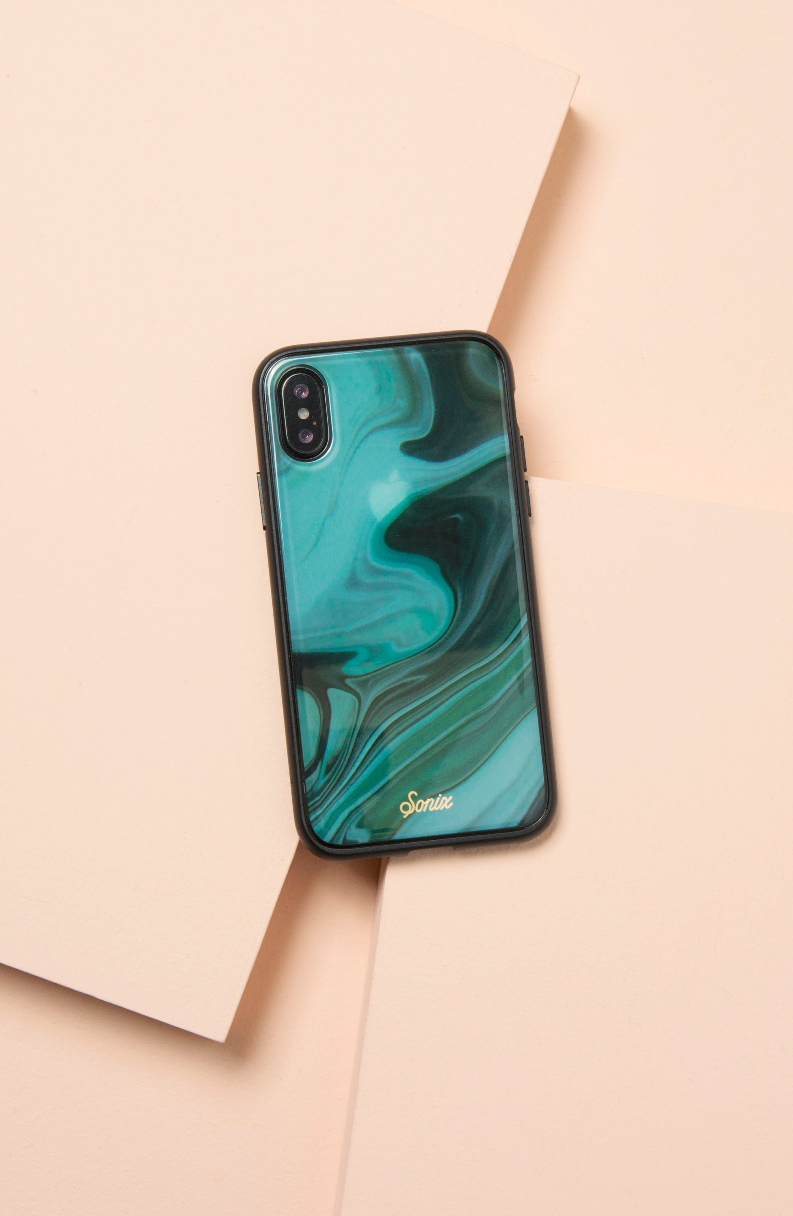 Jade Print iPhone X Case,                             Alternate thumbnail 3, color,                             Green
