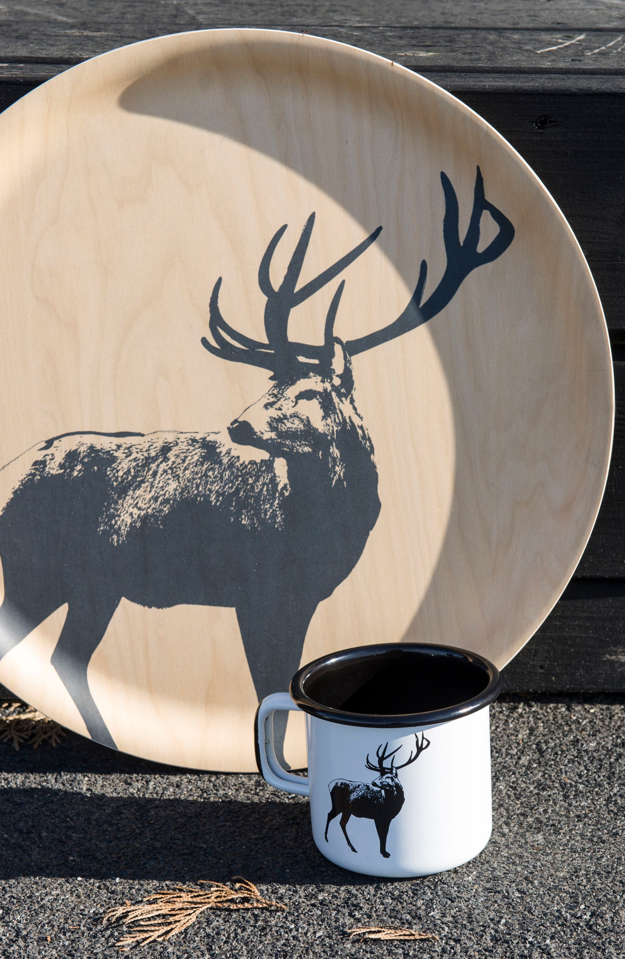Deer Birch & Melamine Serving Tray,                             Alternate thumbnail 4, color,                             Beige