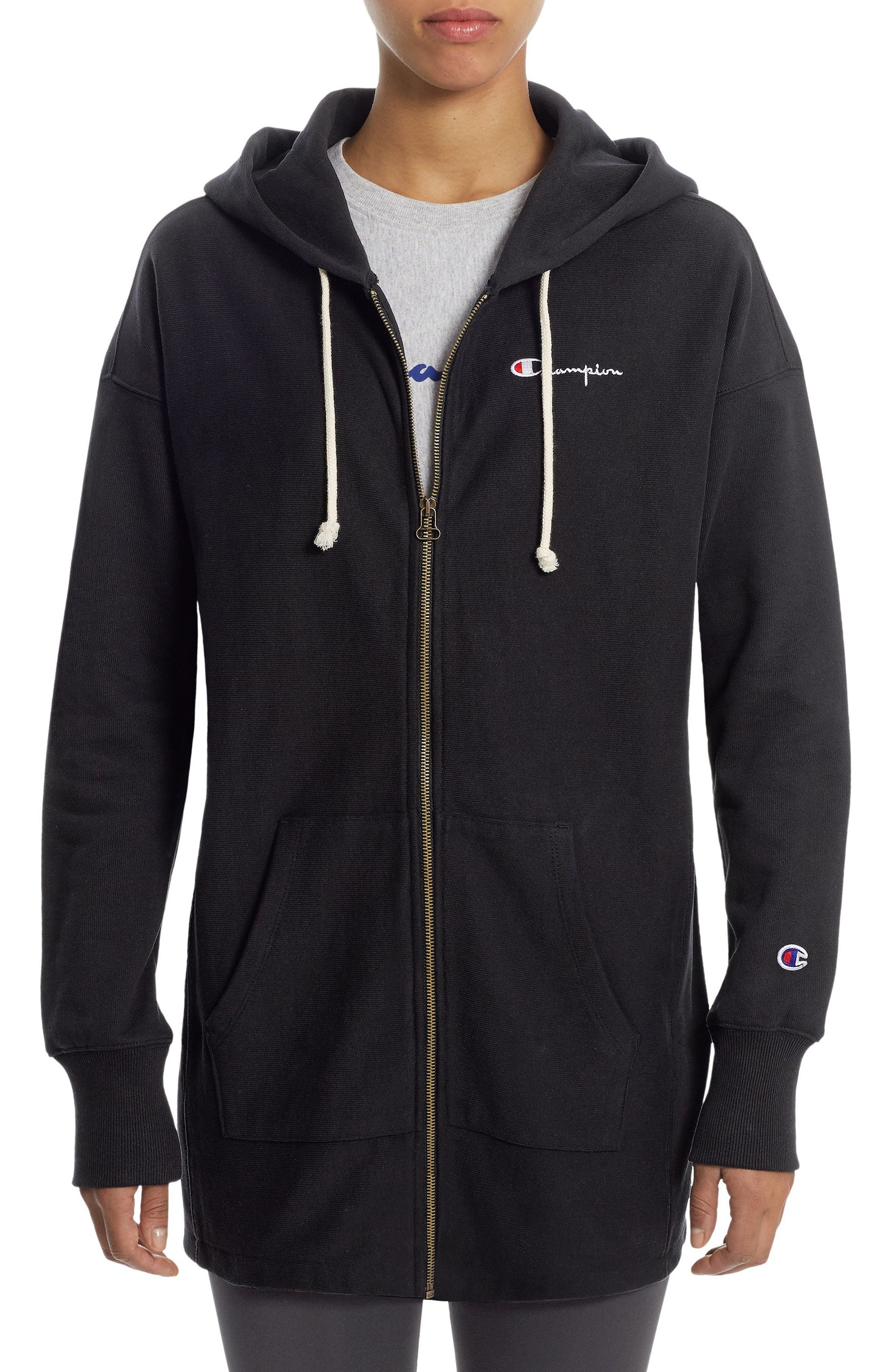 Reverse Weave<sup>®</sup> Maxi Terry Zip Hoodie,                         Main,                         color, Black