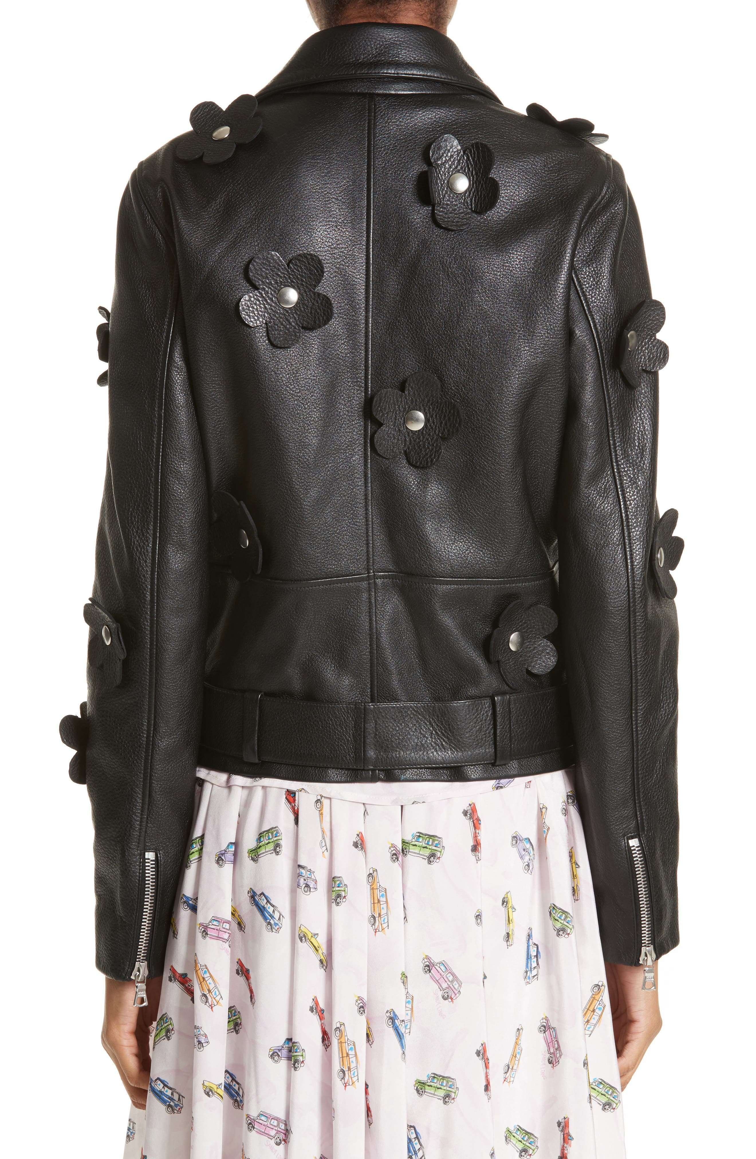 Alternate Image 2  - Sandy Liang Petals Delancey Leather Moto Jacket
