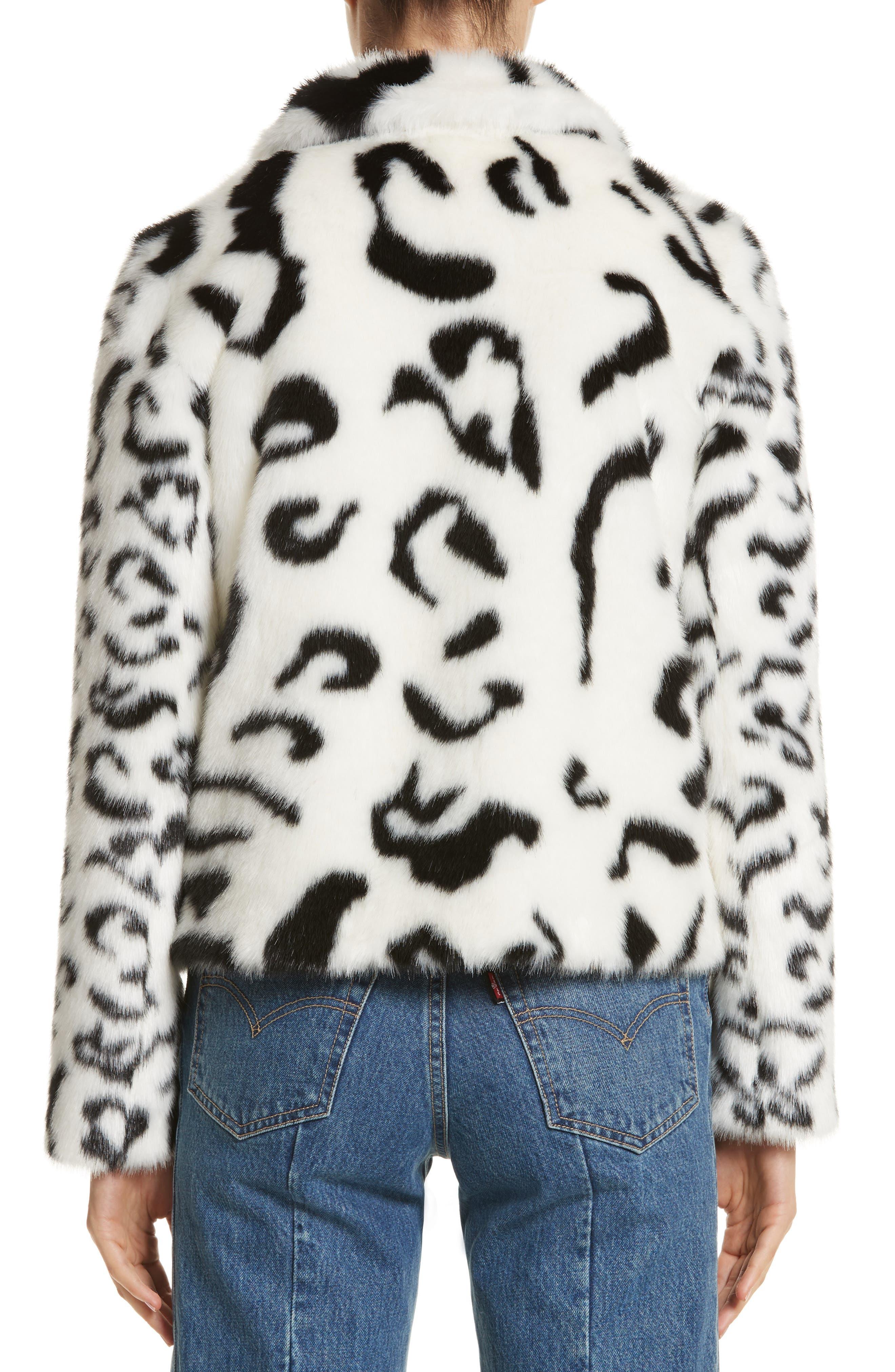 Junior Faux Fur Jacket,                             Alternate thumbnail 2, color,                             White/ Black