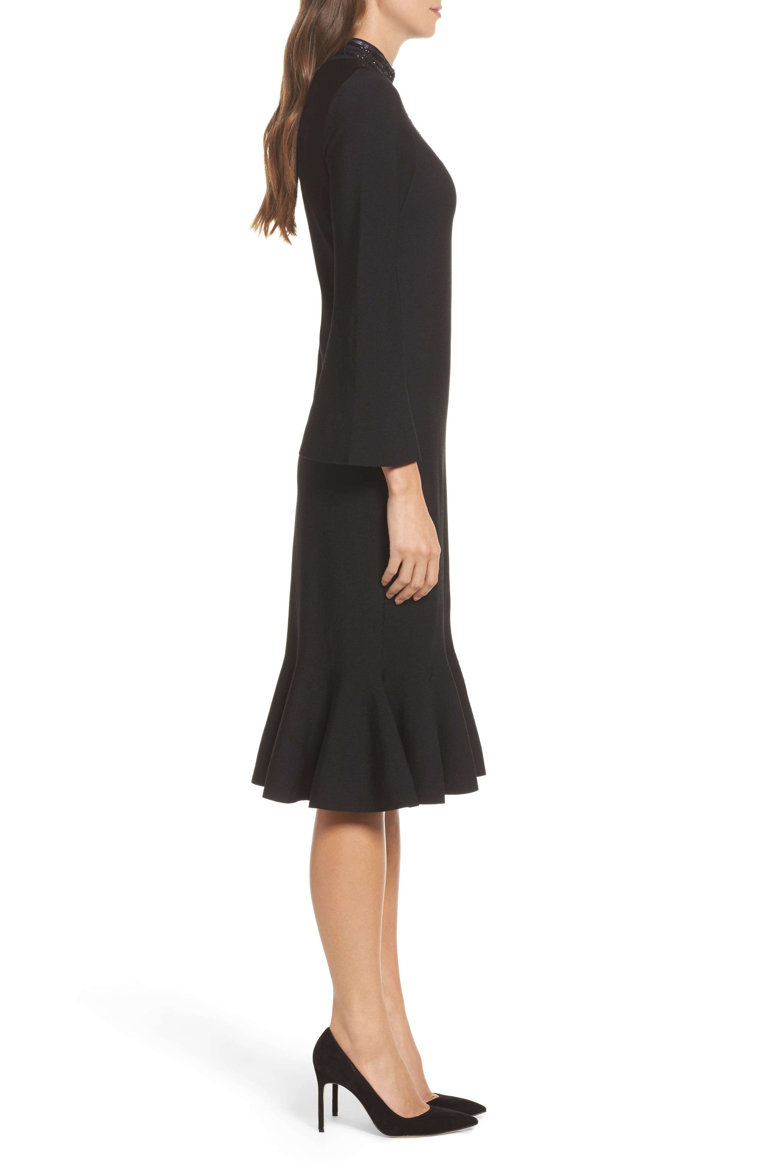 Sequin Midi Dress,                             Alternate thumbnail 3, color,                             Black Onyx