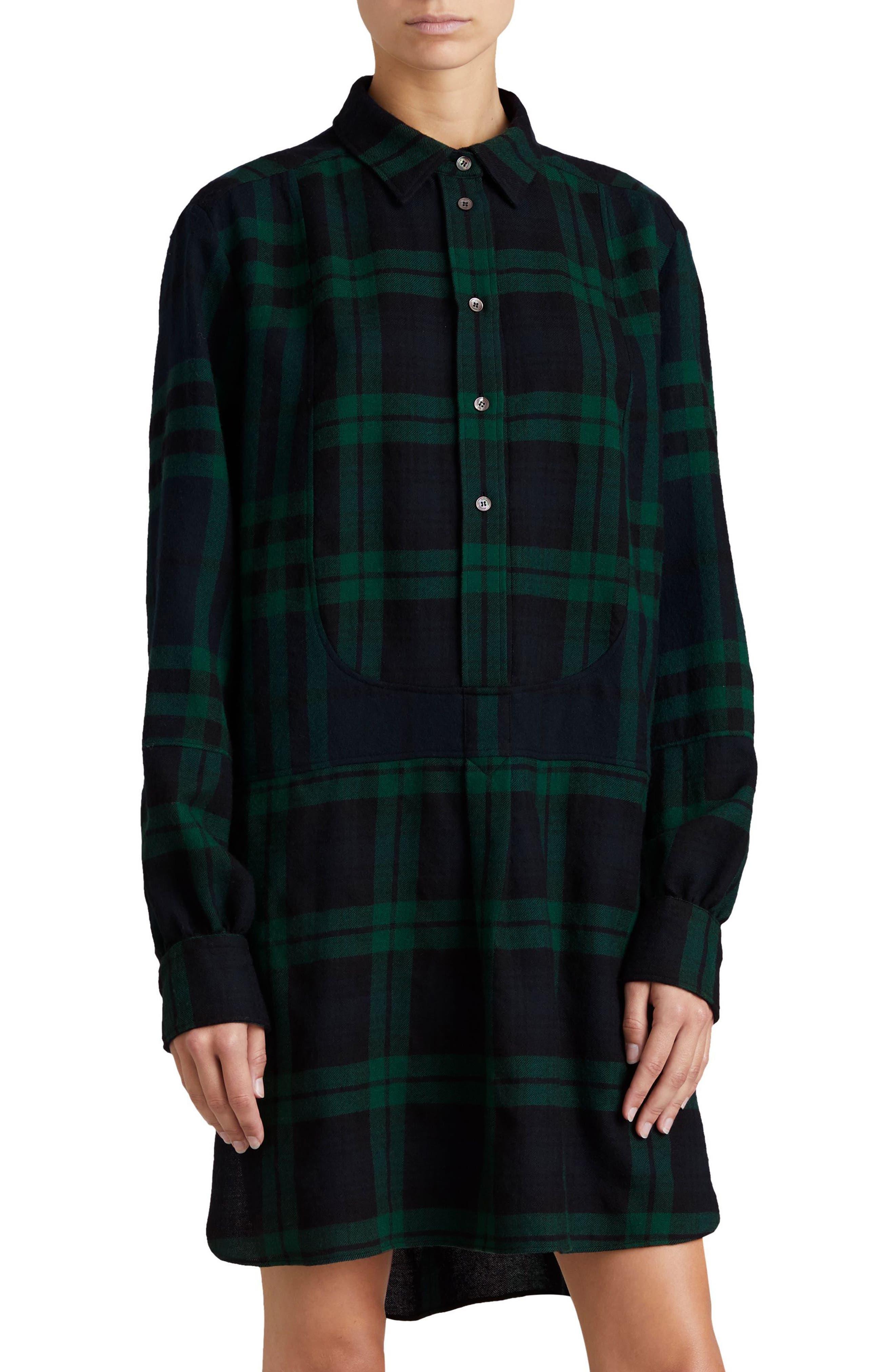 Kylie Check Wool Shirtdress,                             Main thumbnail 1, color,                             Navy