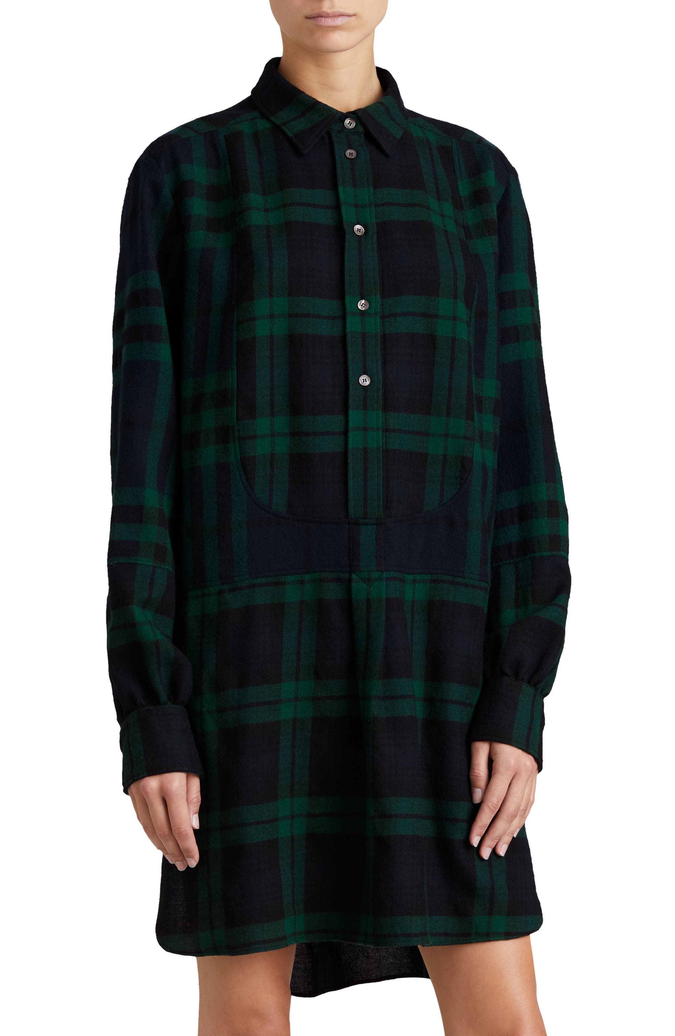 Kylie Check Wool Shirtdress,                         Main,                         color, Navy