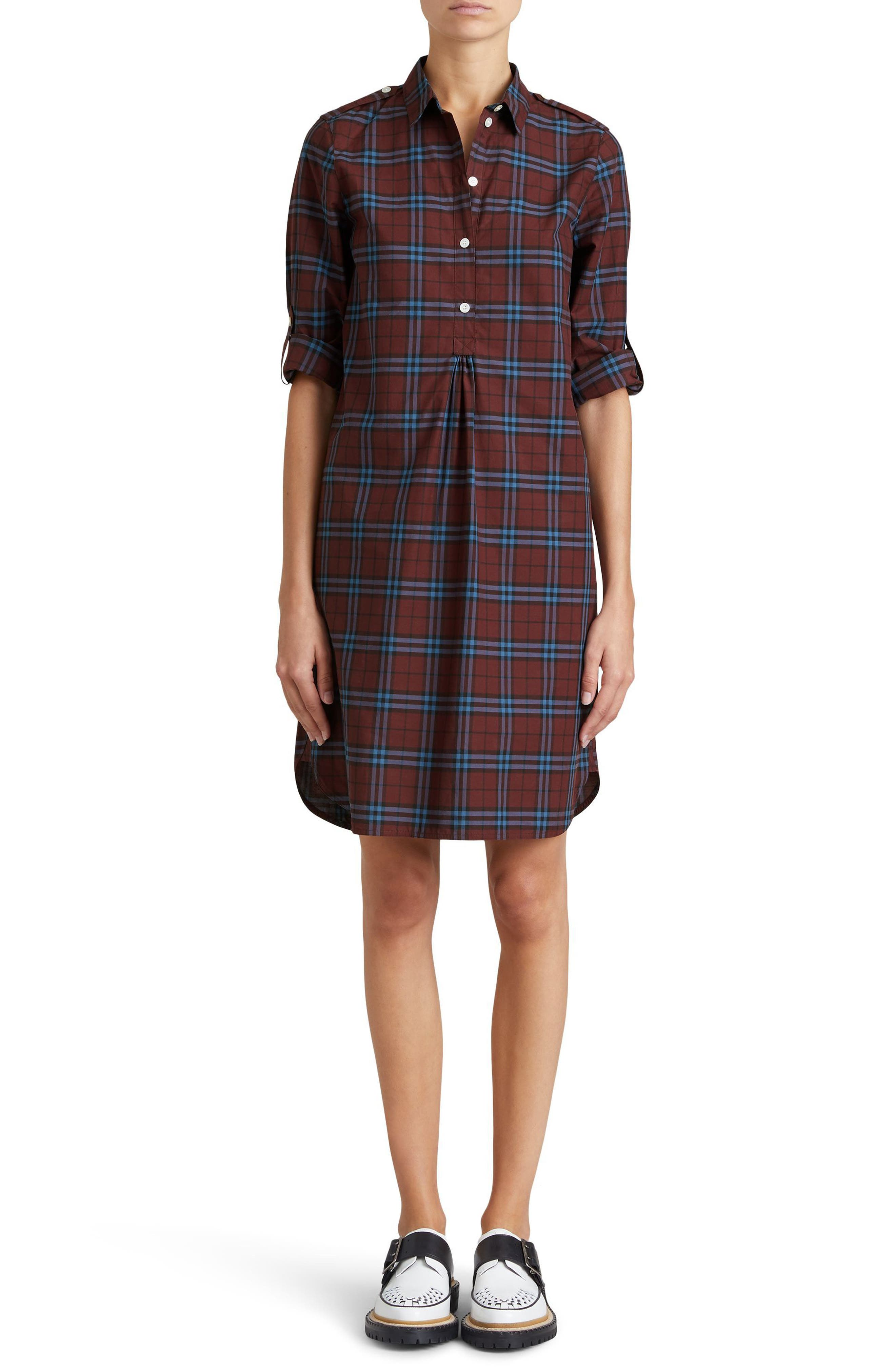 Alternate Image 1 Selected - Burberry Kelsy Cotton Check Shirtdress