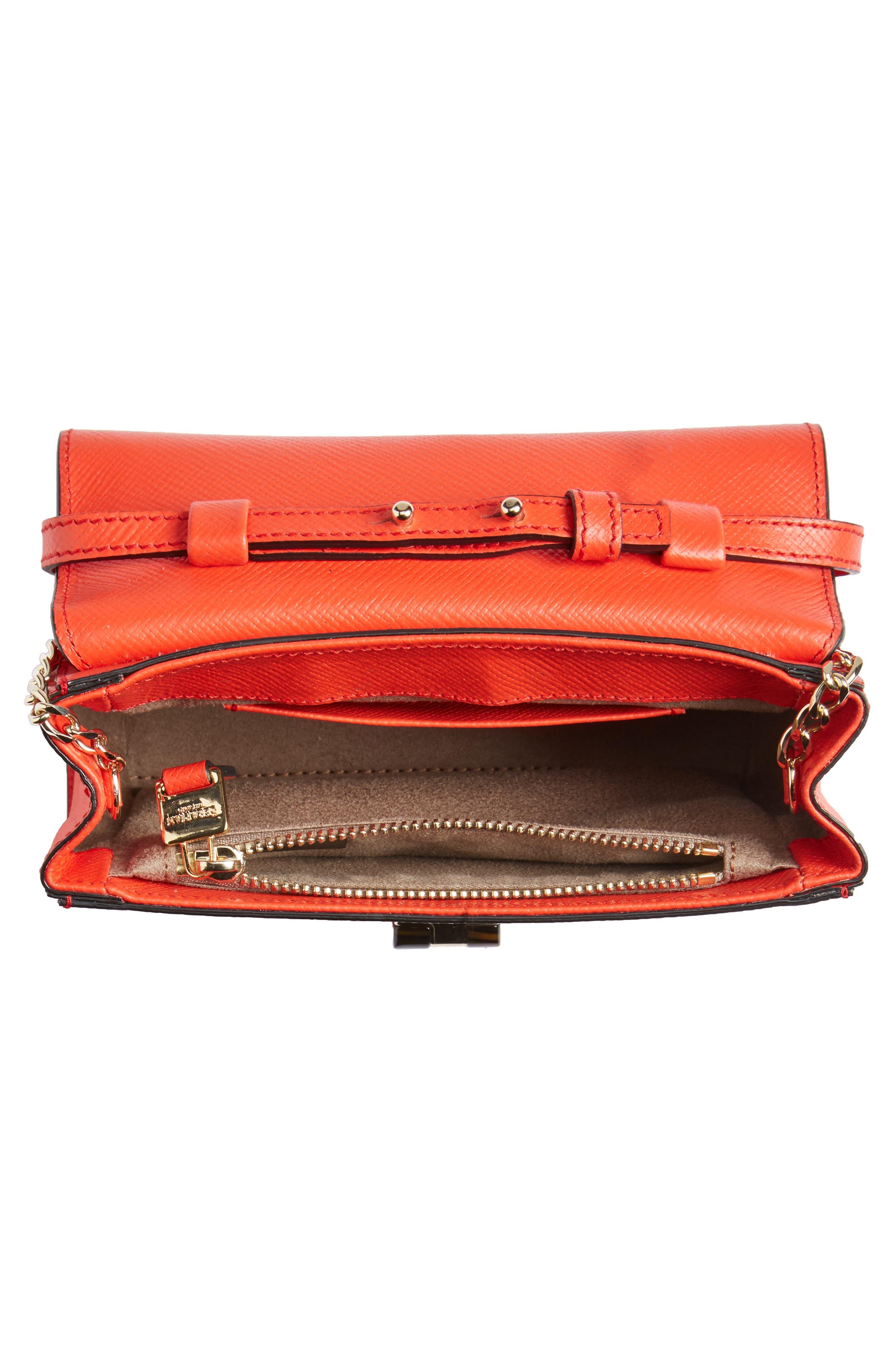 Mini Ilenea Leather Crossbody Bag,                             Alternate thumbnail 4, color,                             Coral Red