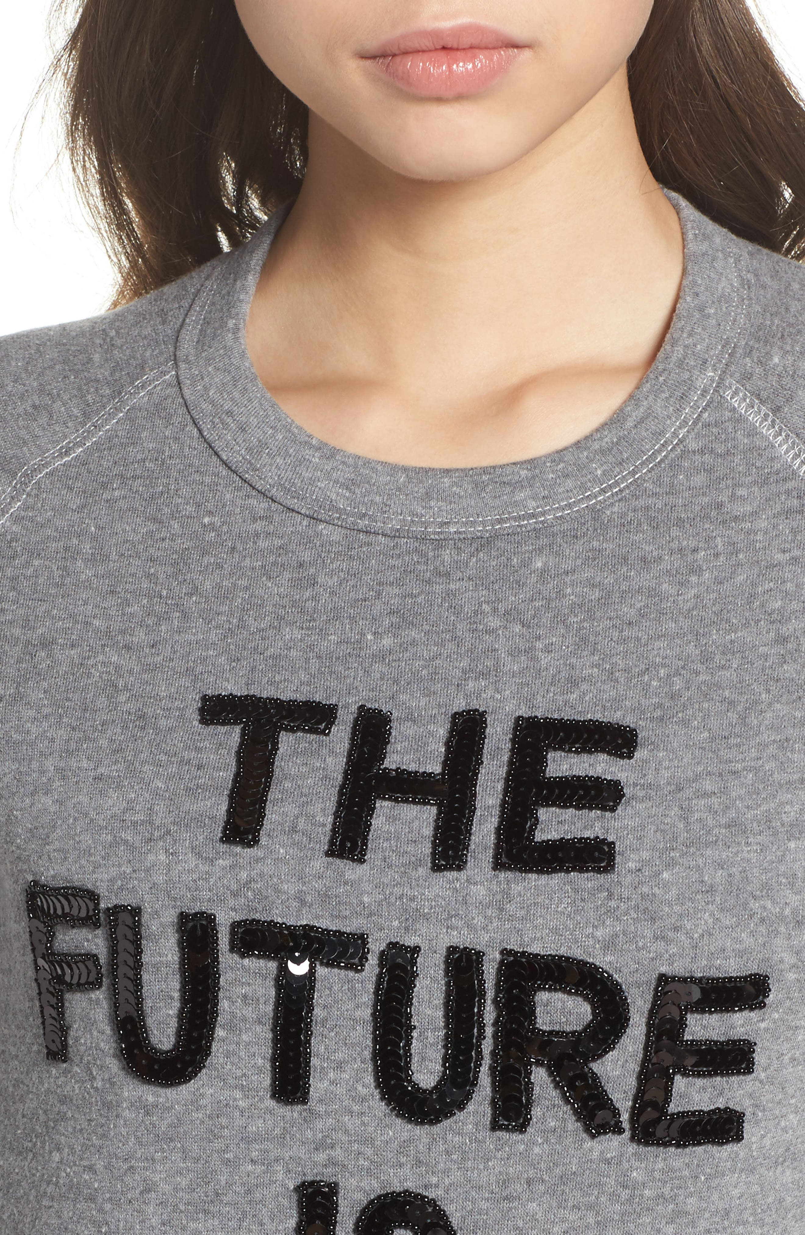The Future is Female French Terry Sweatshirt,                             Alternate thumbnail 5, color,                             Heather Grey